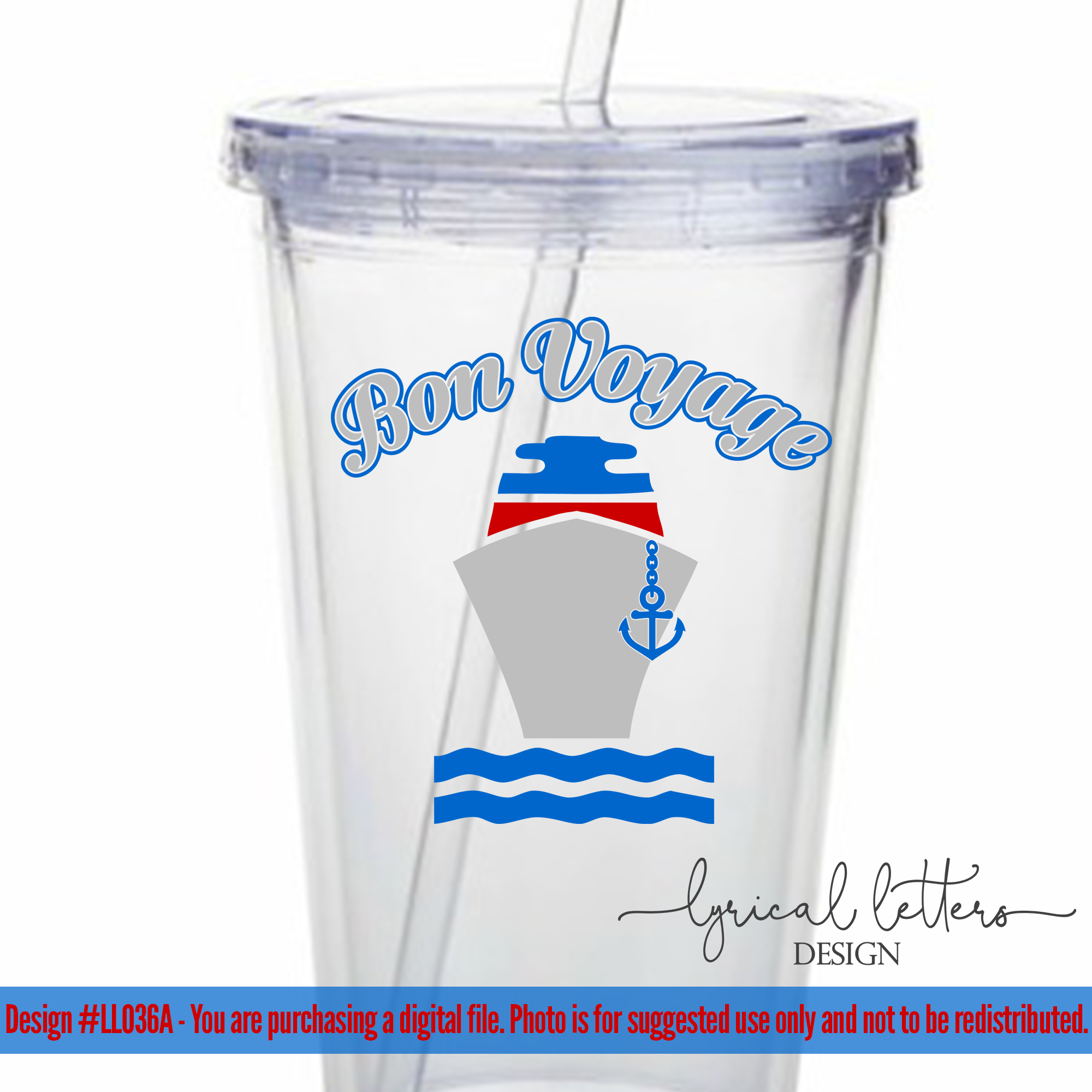 Bon Voyage with Cruise Ship SVG DXF FCM LL036A example image 2