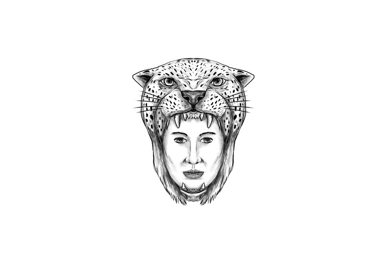 Amazon Warrior Jaguar Headdress Tattoo example image 1