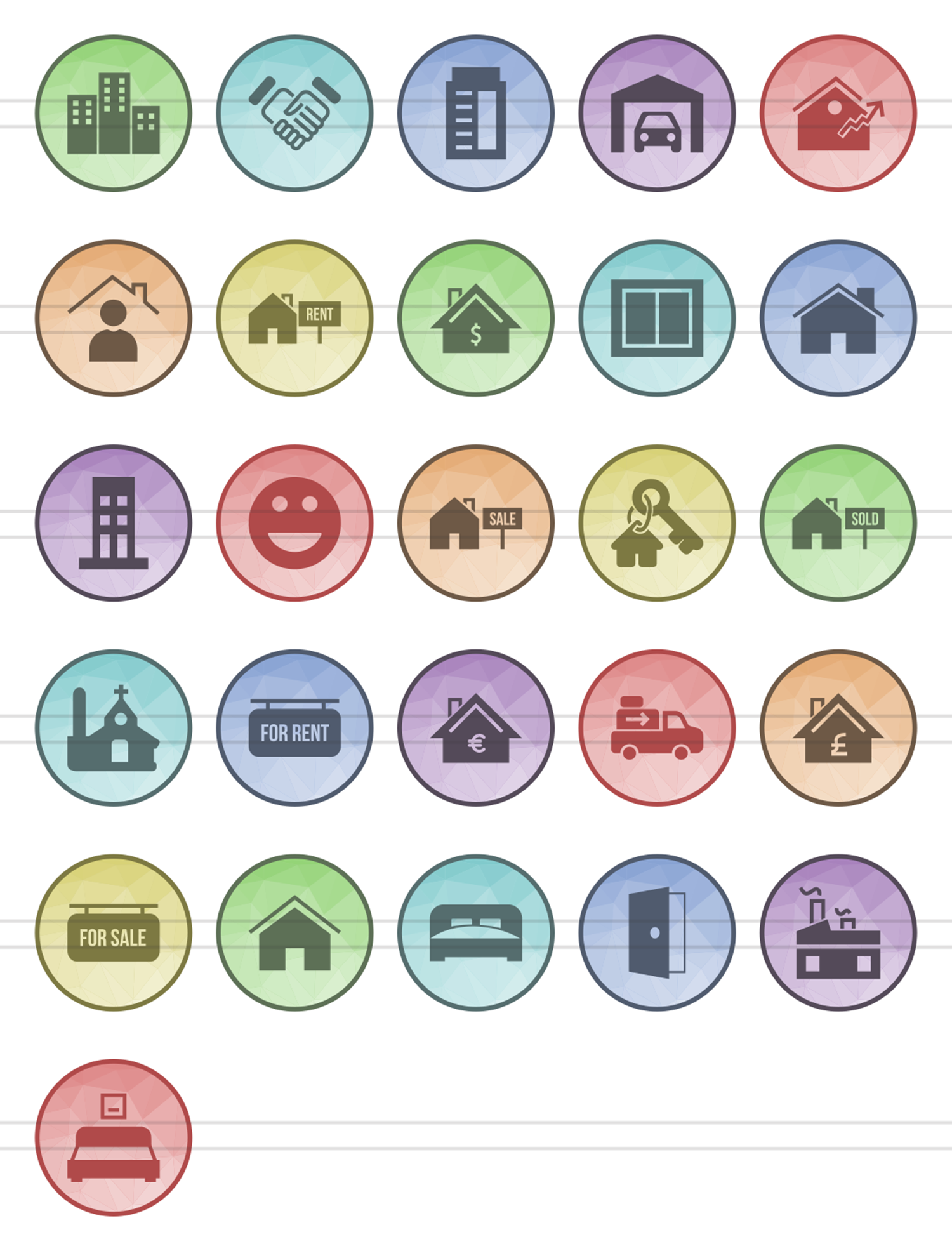 26 Real Estate Filled Low Poly Icons example image 2