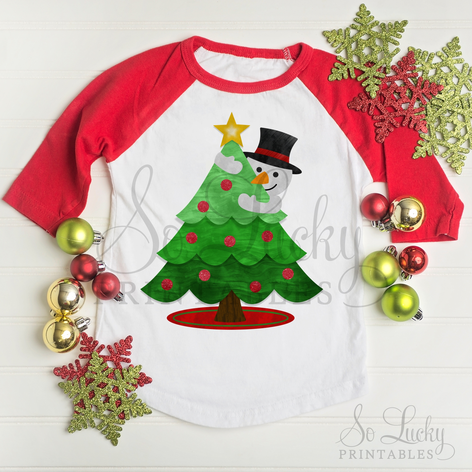 Snowman and Christmas Tree watercolor sublimation design example image 2