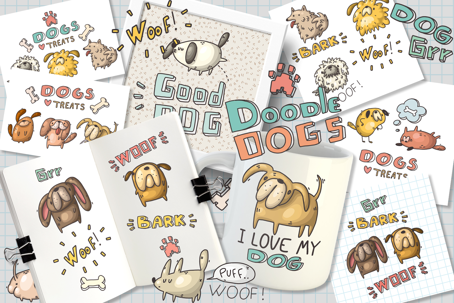 Set of funny dogs and patterns example image 5