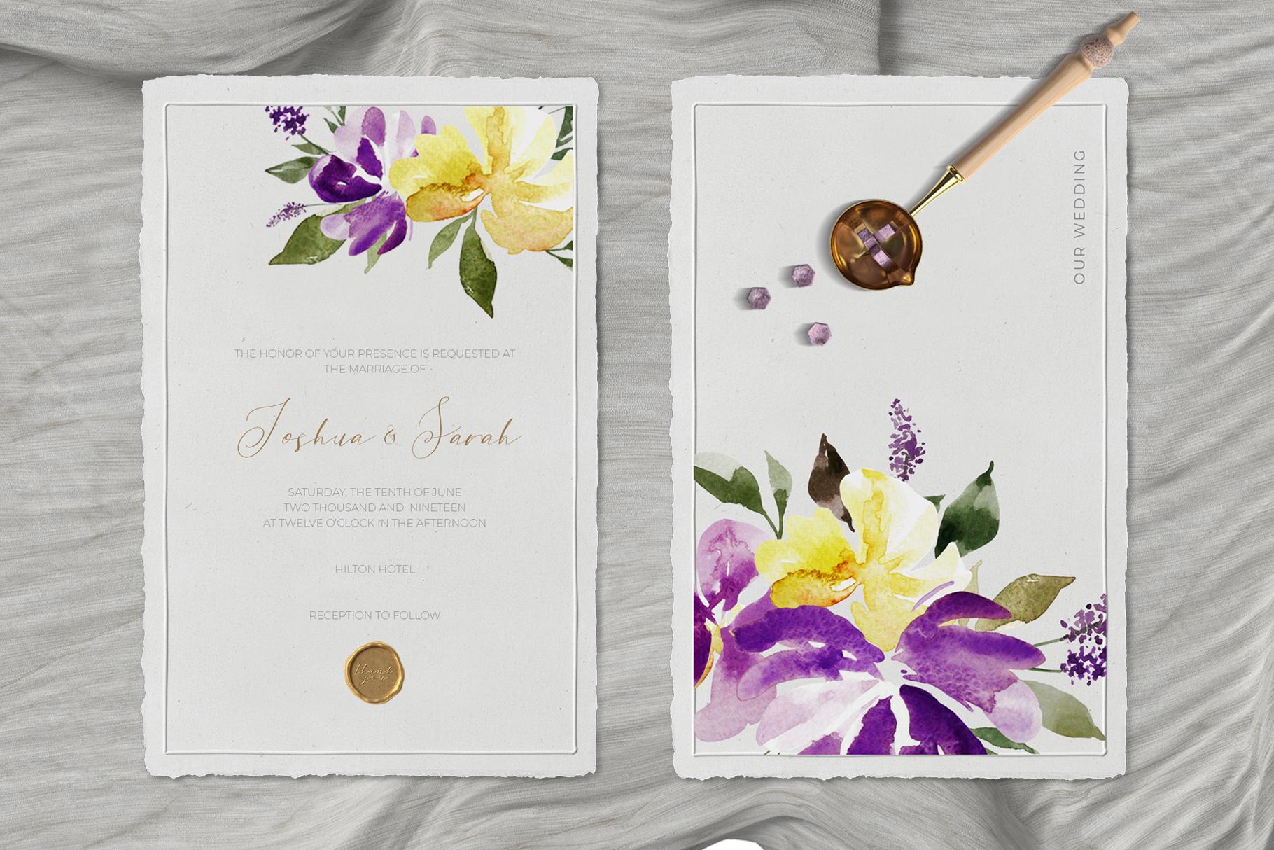 Watercolor Purple Lavender Plum Floral Clipart example image 3