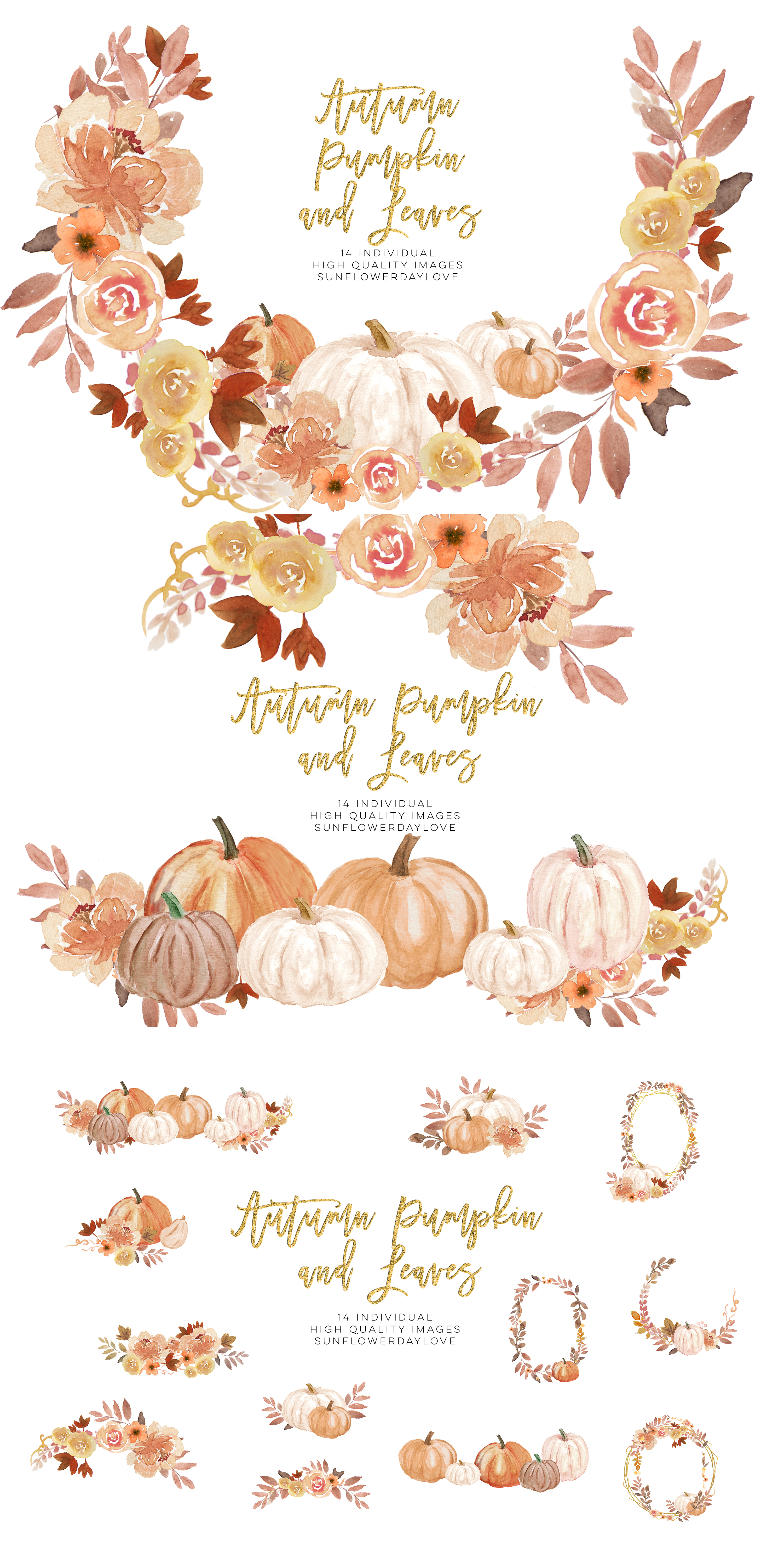 Autumn Wreath Pumpkin and leaves clipart example image 4