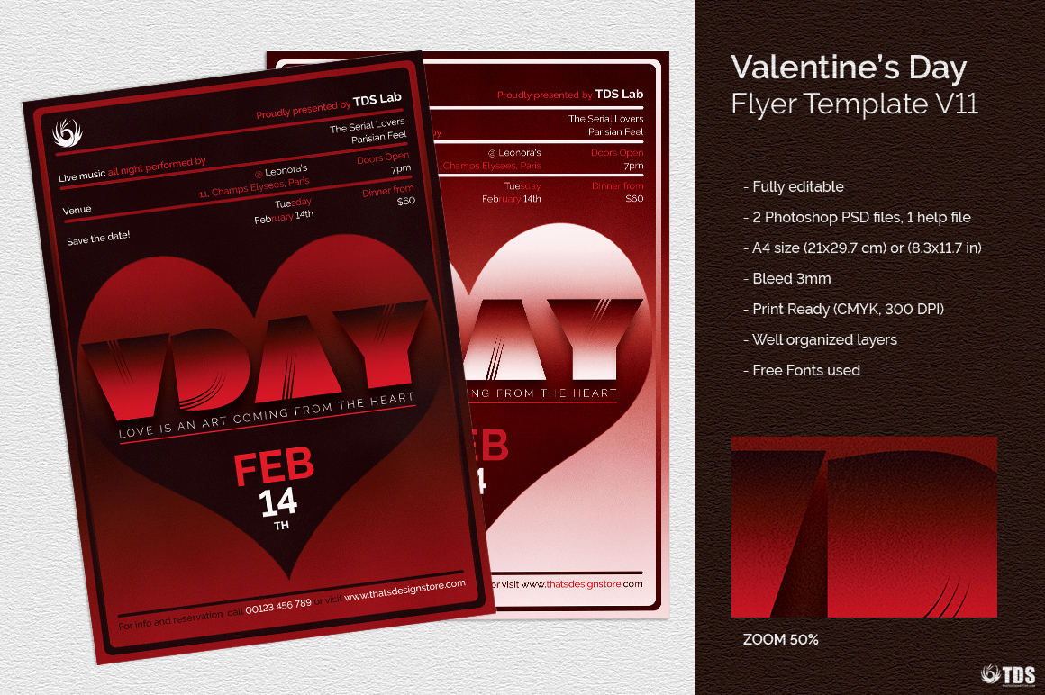 Valentines Day Flyer Template V11 example image 2