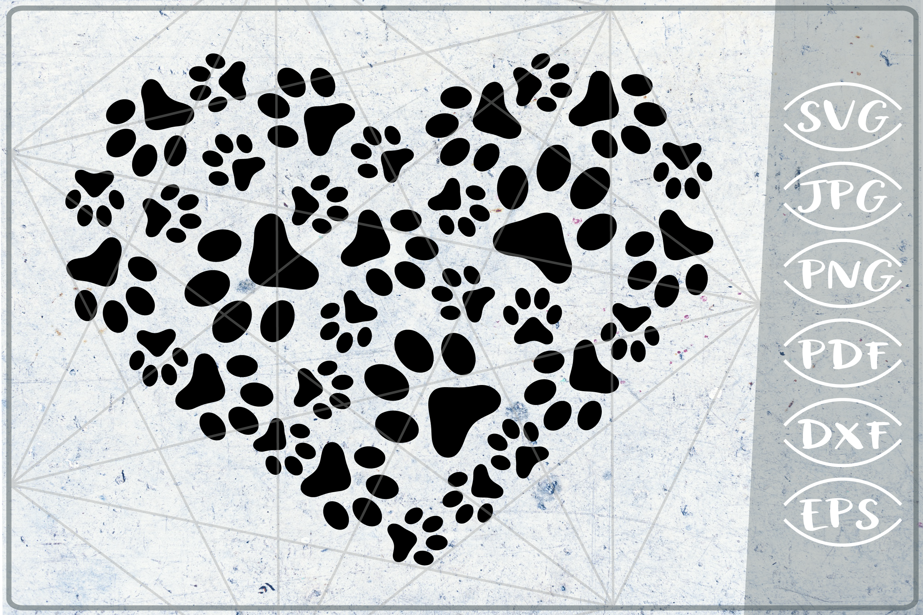 Paws Print Heart SVG Cutting File example image 1