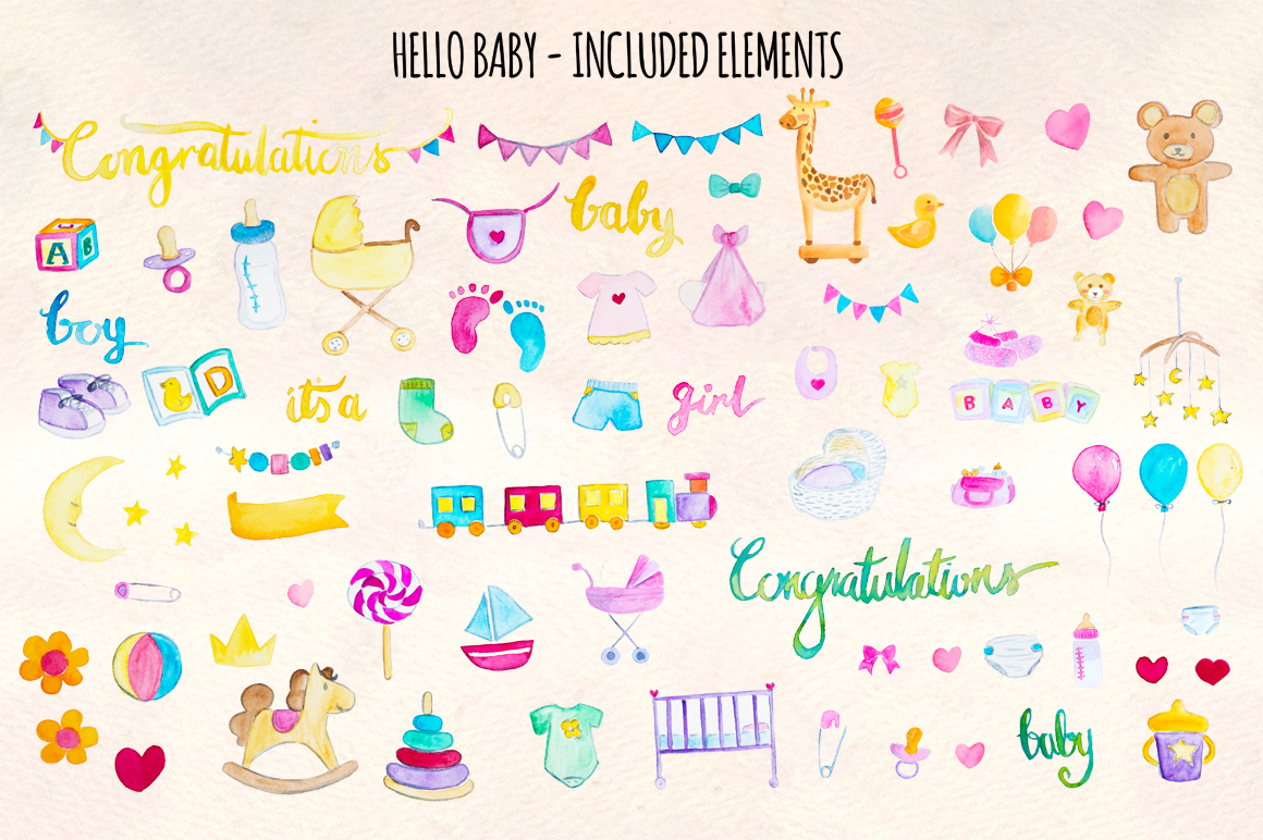 Hello Baby 76 New Baby Watercolor Elements example image 2