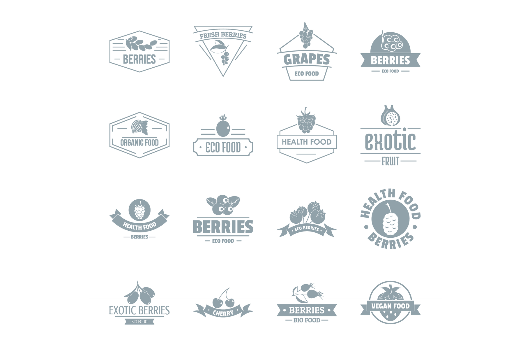 Berries logo icons set, simple style example image 1