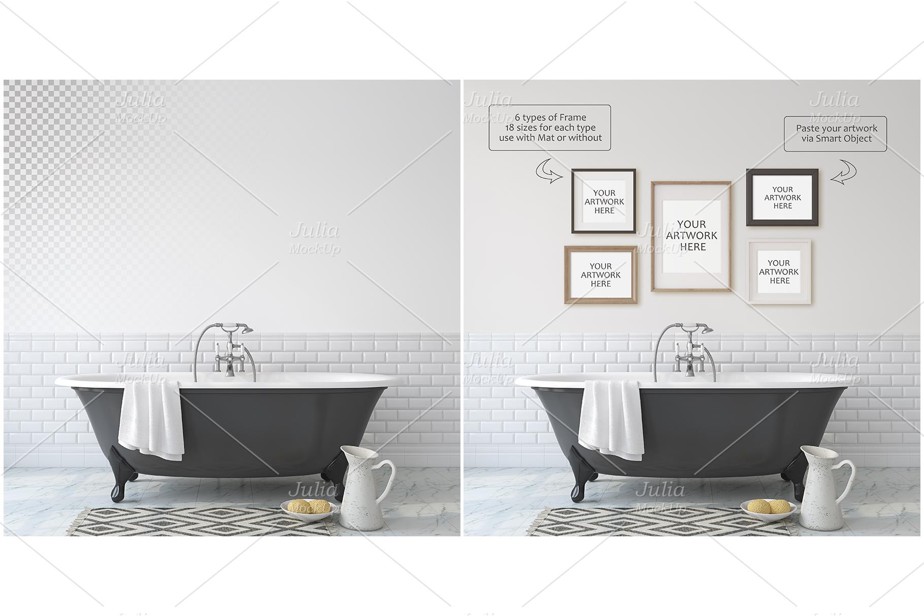 Romantic bathroom. Wall&Frames Mockup. example image 4