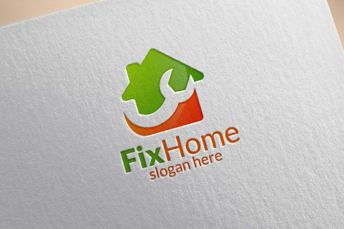 Real estate Logo, Fix Home Vector Logo Design suitable for architecture,  handyman,bricolage,Diy,and for another application company example image 6
