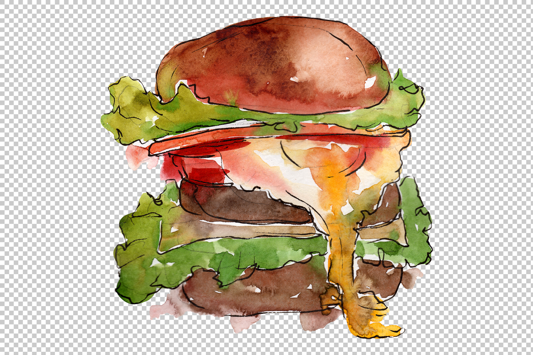 Hamburger for gentleman watercolor png example image 2