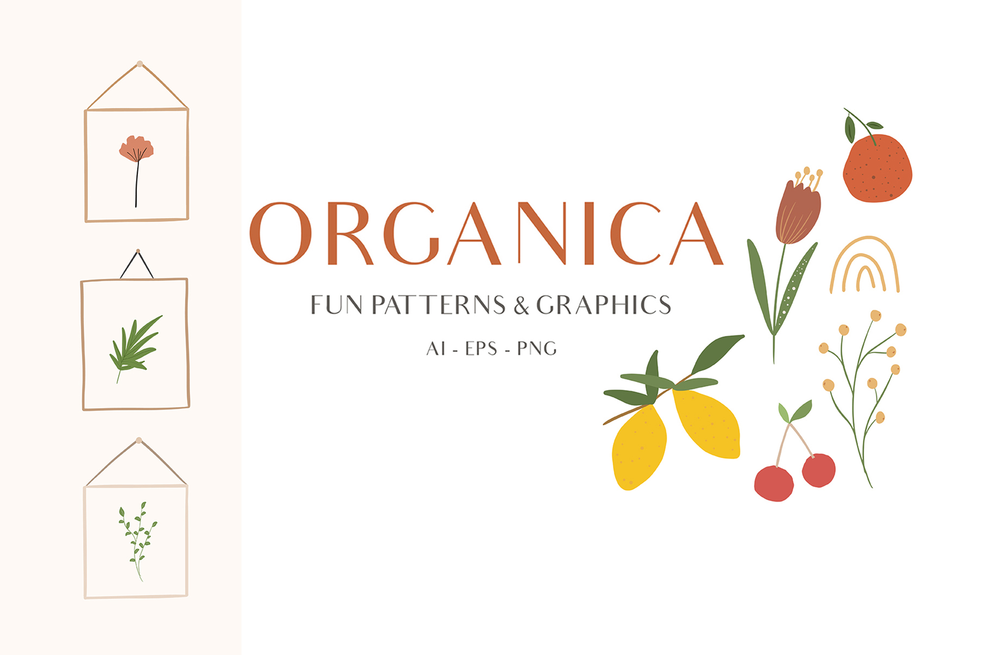 Abstract Shapes & Fun Fruits Patterns and Graphics example image 1