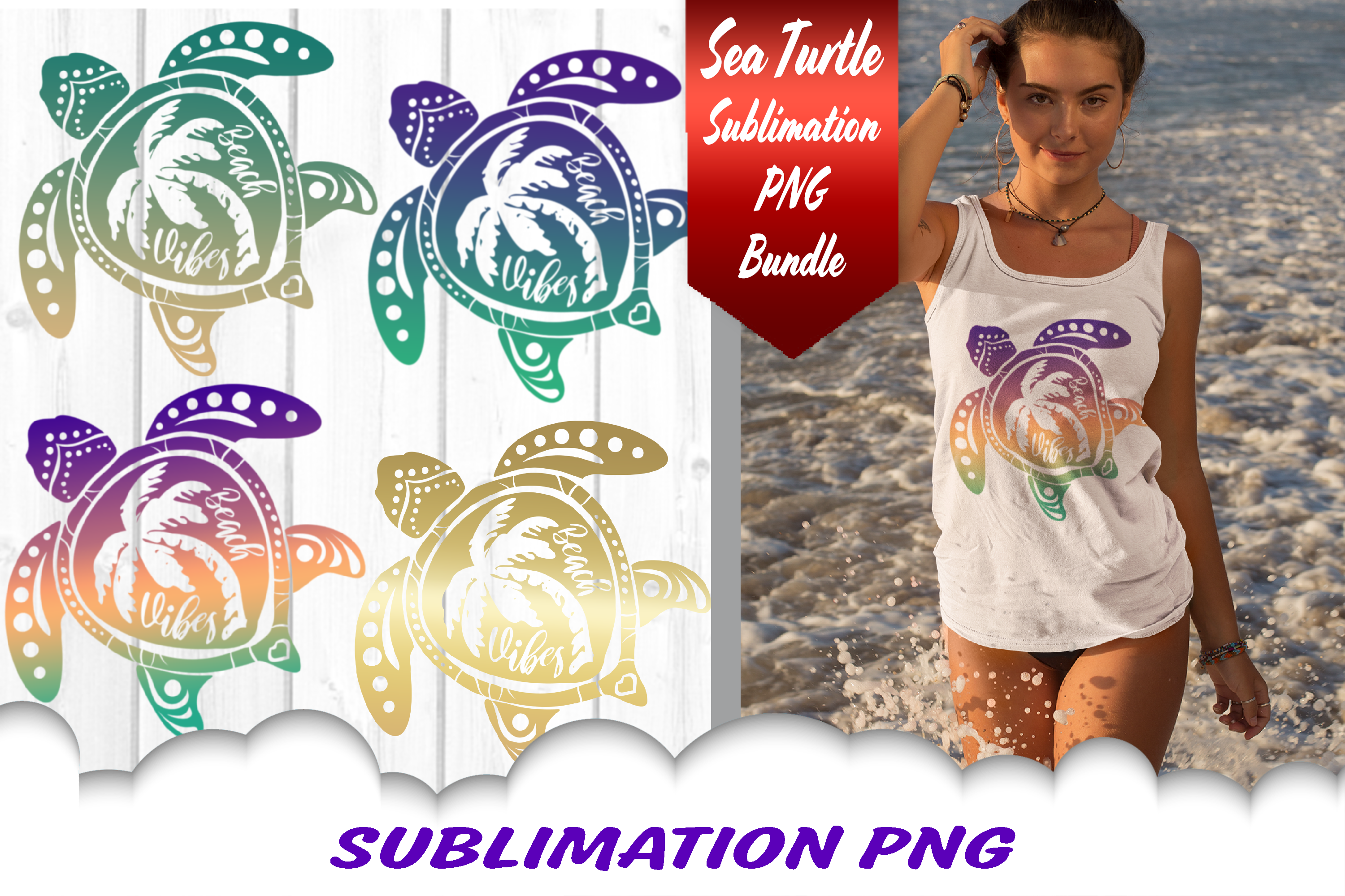 Sea Turtle Palm Beach Vibes Sublimation PNG Bundle example image 1