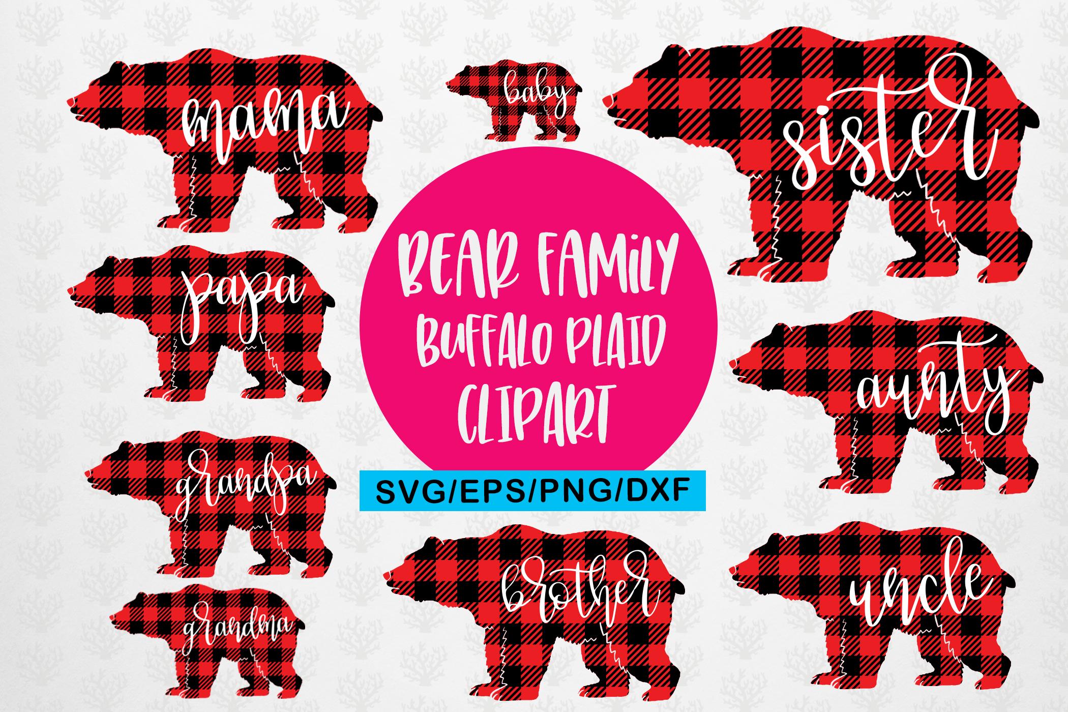 Mama Bear Bufflao Plaid Family Svg Bundle - Mother SVG File example image 1