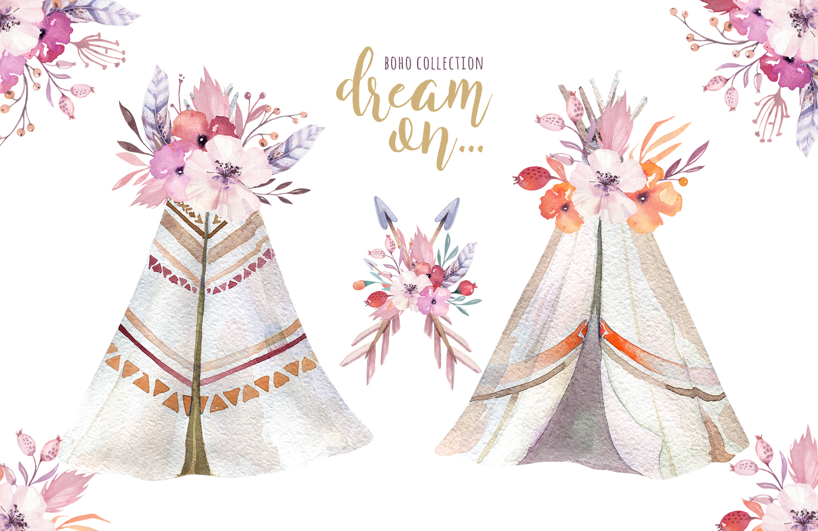 Watercolor teepee collection example image 6