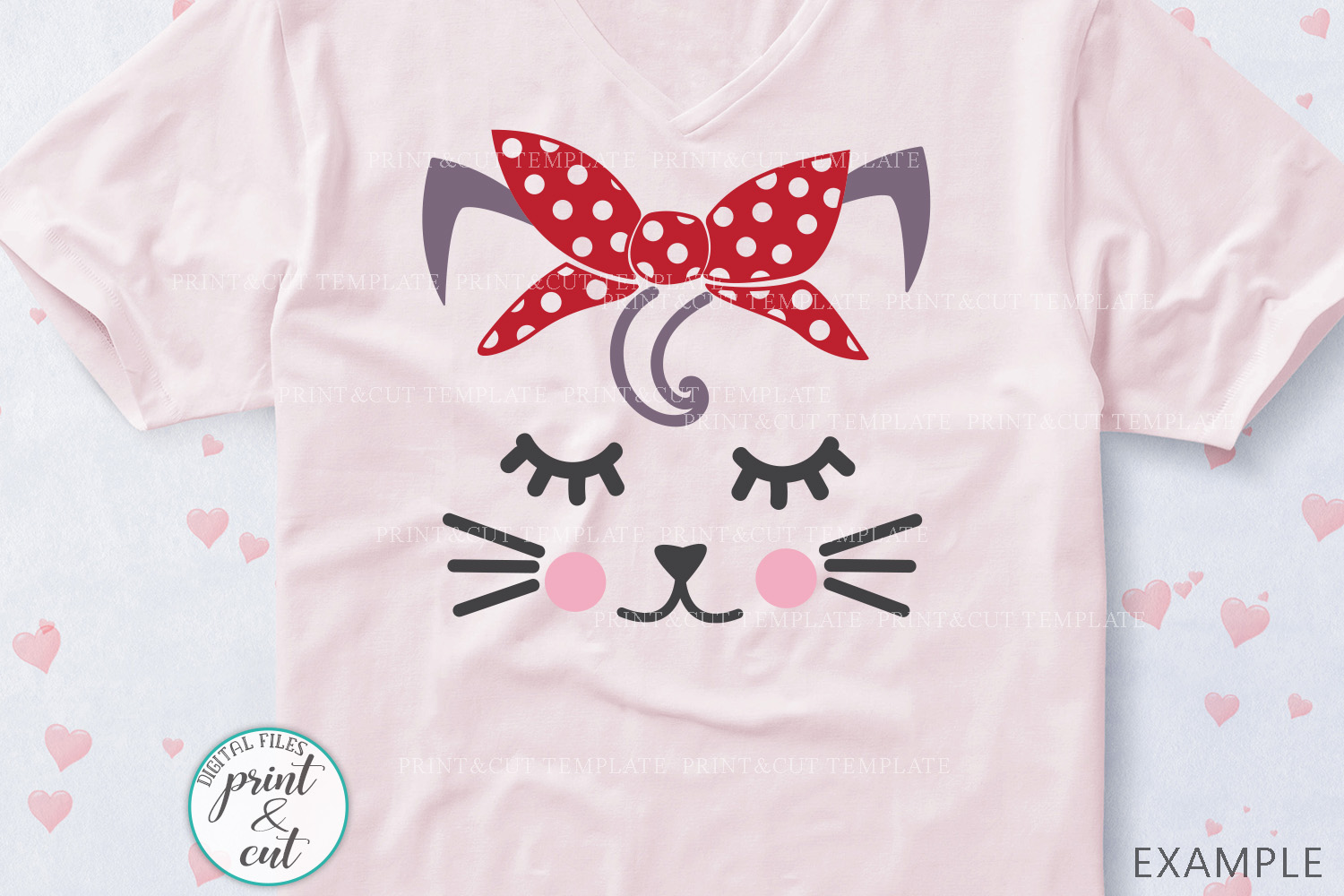 Cat Kitty face bundle with flowers hearts unicorn crown svg example image 9