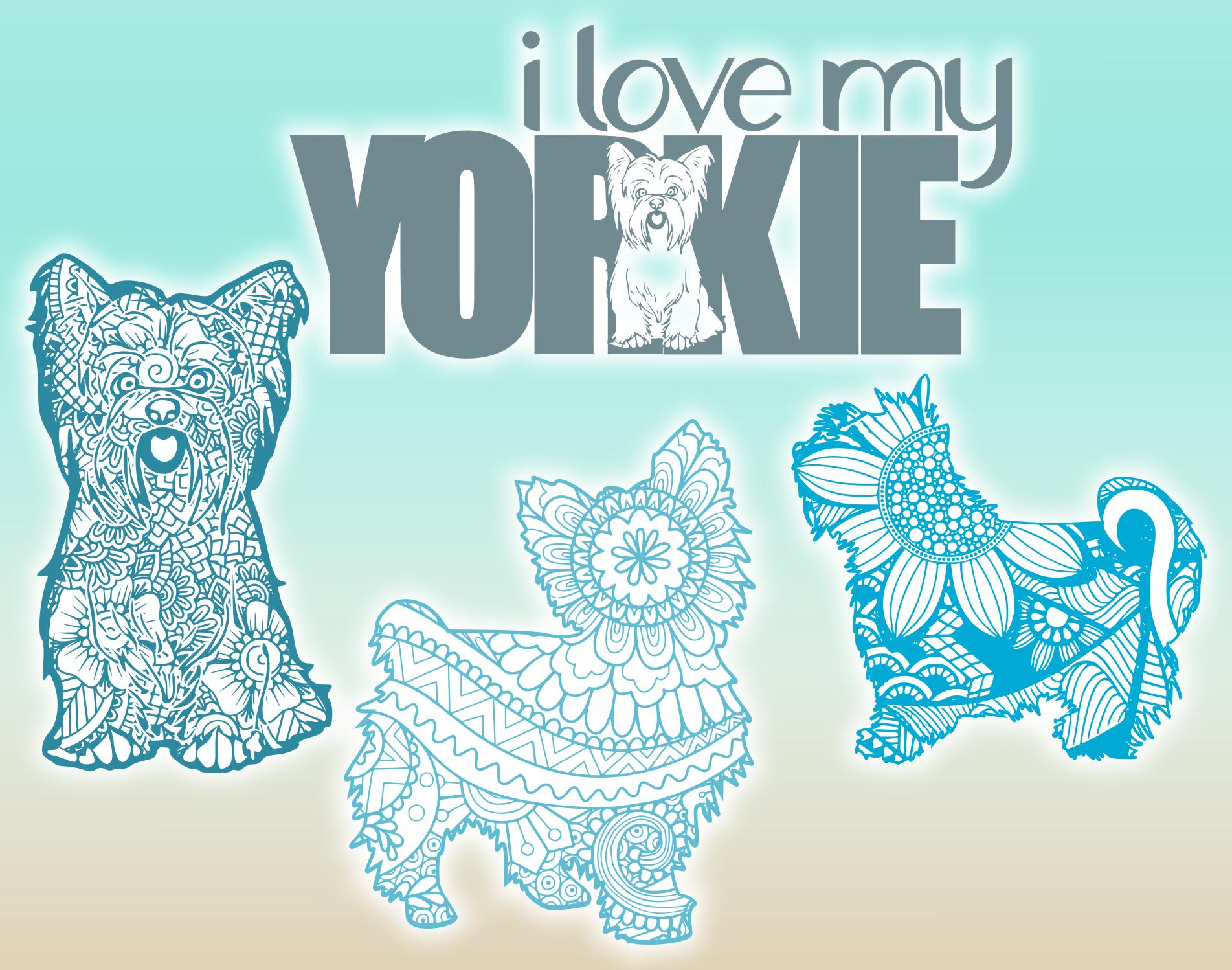 Yorkie Yorkshire Terrier Dog Mandala Zentangle Bundle SVG example image 2