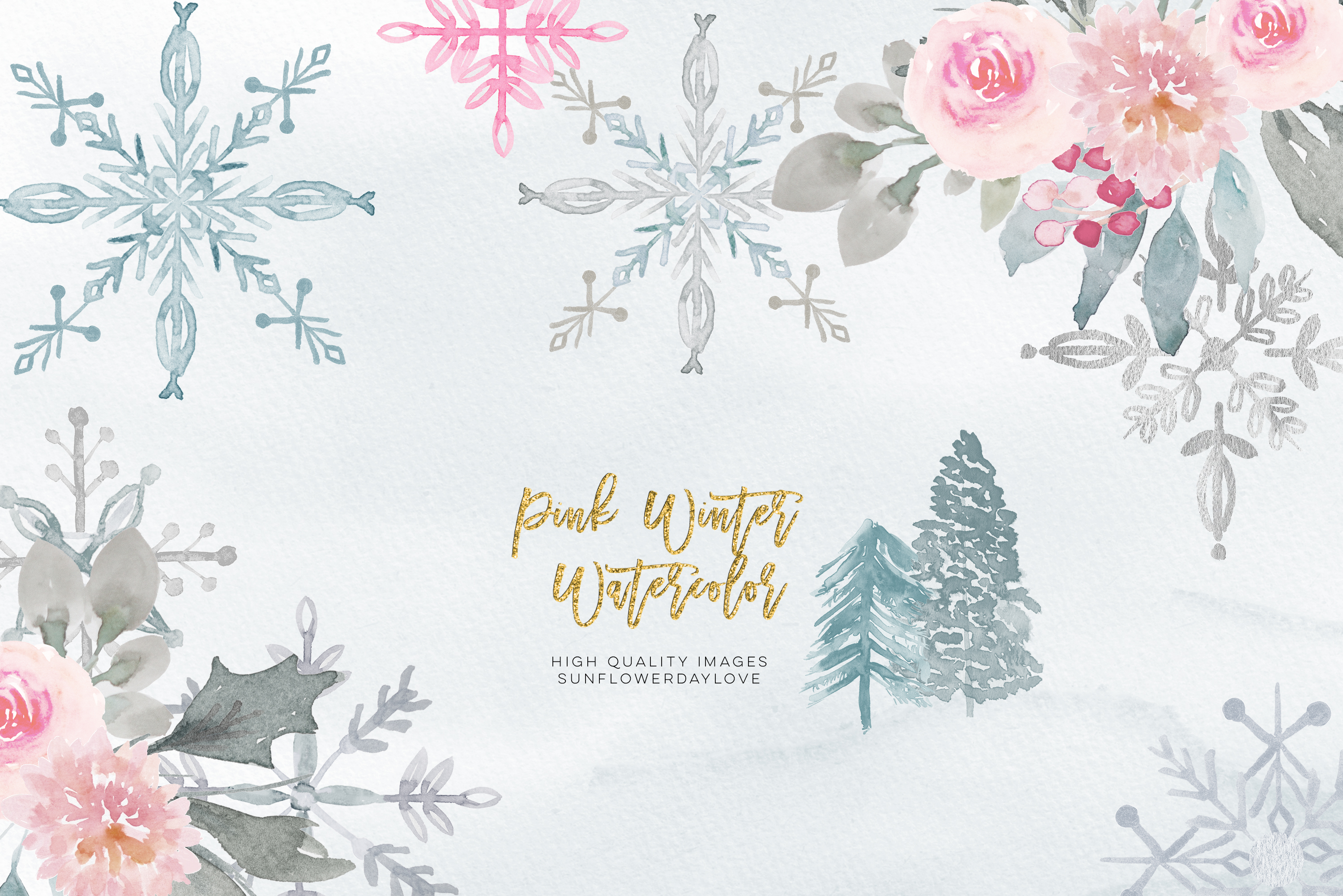 Pink Christmas clipart, floral Pink watercolor clipart example image 3