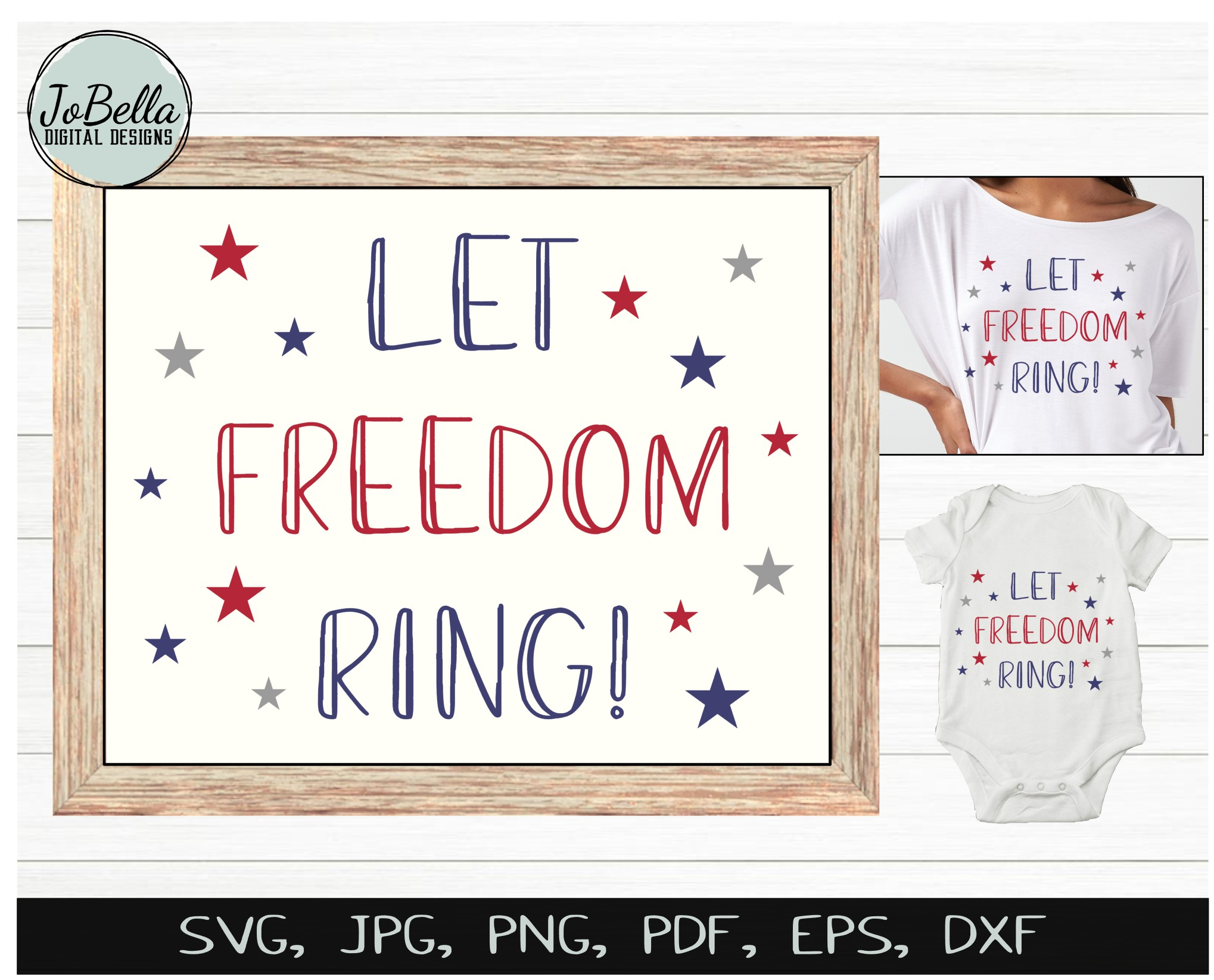 Let Freedom Ring! Fourth of July SVG & Sublimation Design example image 2