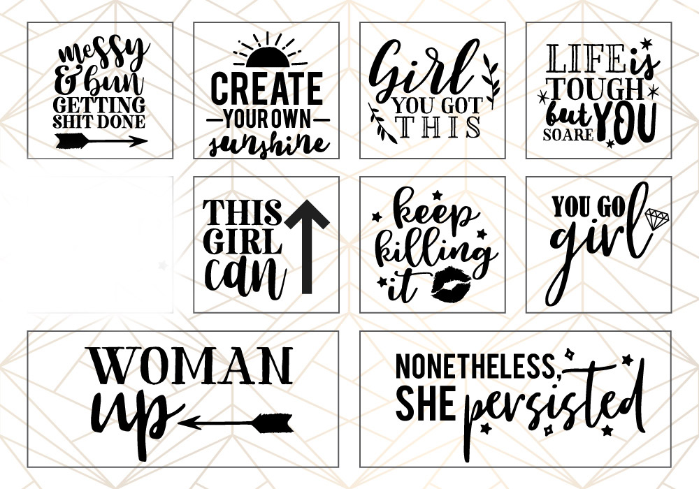 Woman Up Girl Power SVG Cut File Bundle example image 2