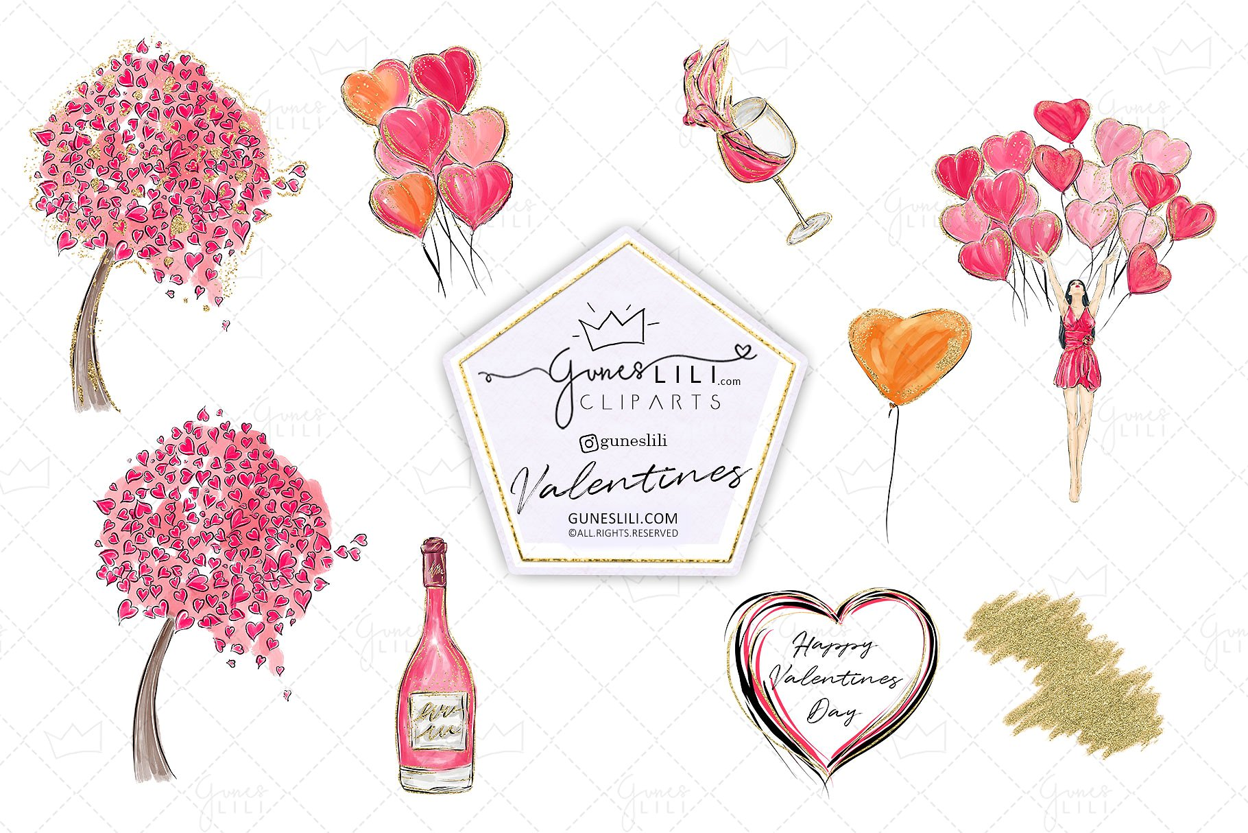 Cute Valentine Clipart Valentines Day Clipart Scrapbooking example image 3