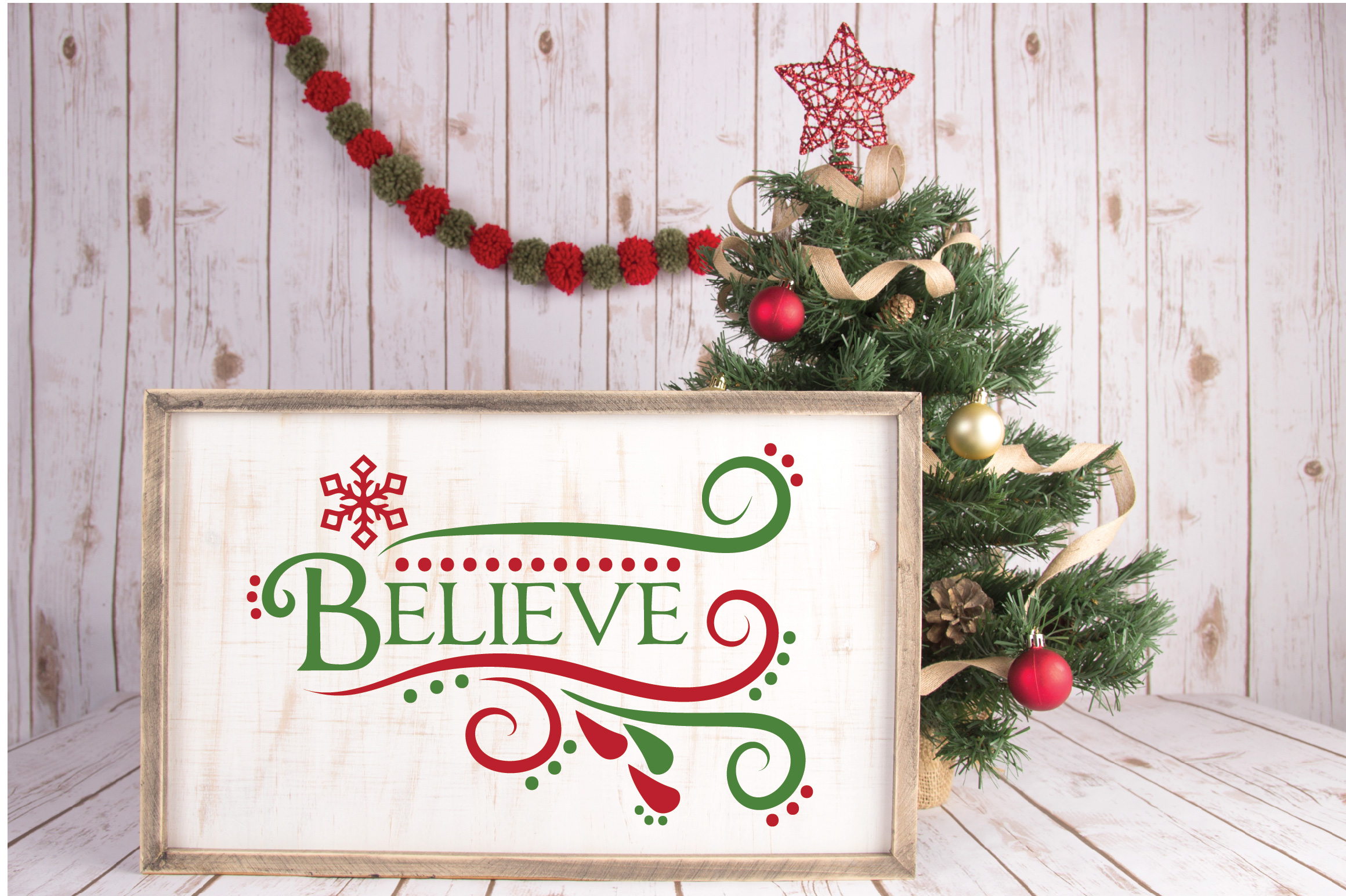 Believe SVG Cut File - Christmas SVG - DXF - PNG - EPS example image 2