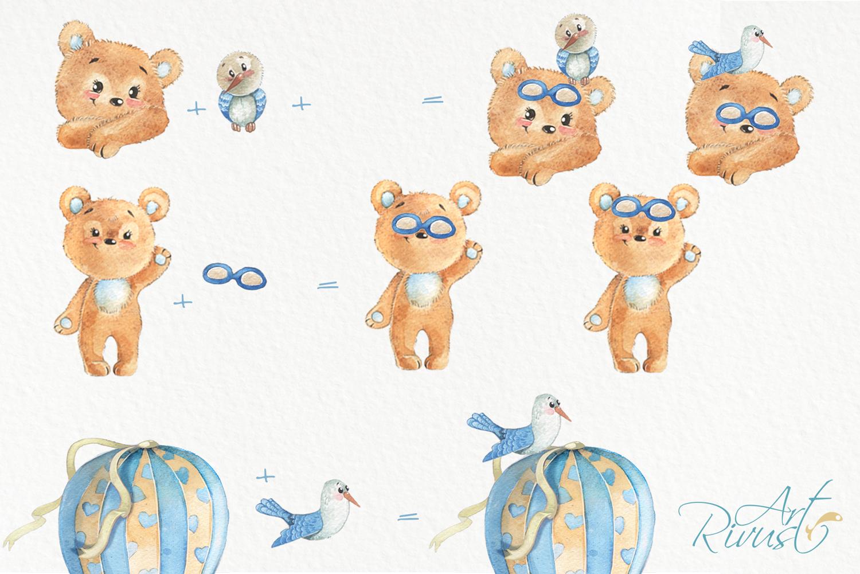 Hot air balloons clipart Cute watercolor bear clip art. Baby example image 3