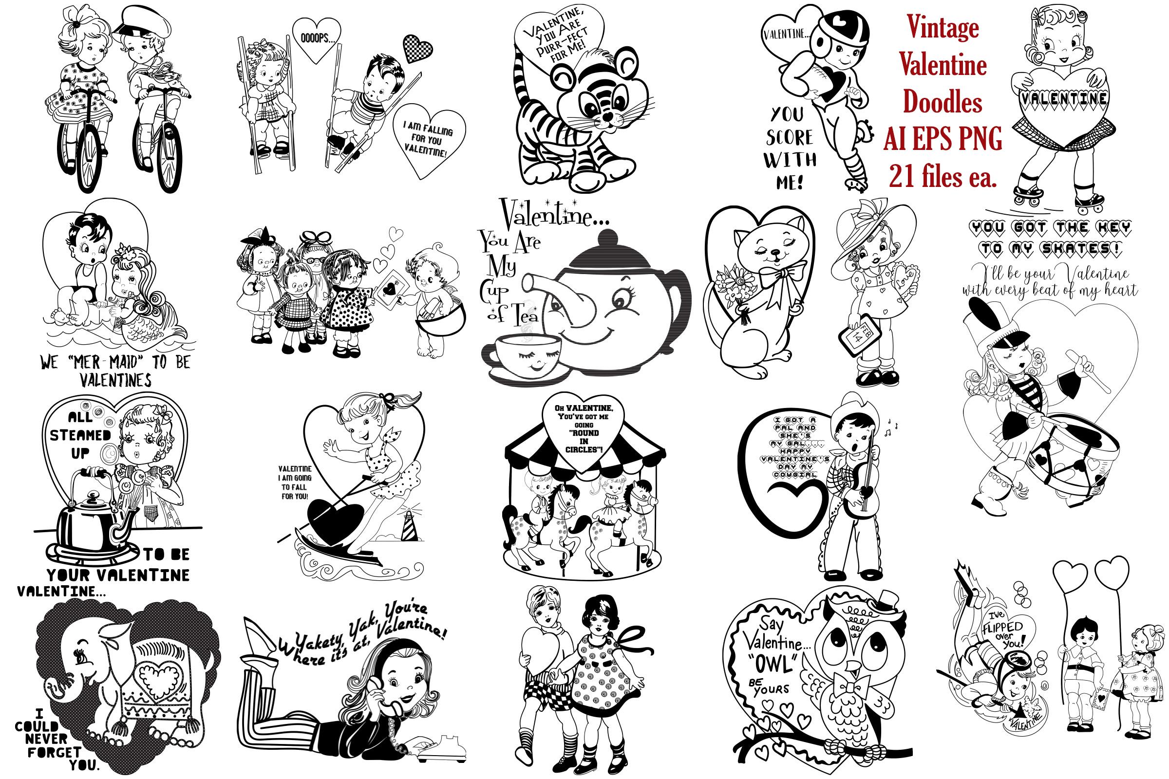 Mid Century Retro/Vintage Valentines AI EPS PNG example image 1