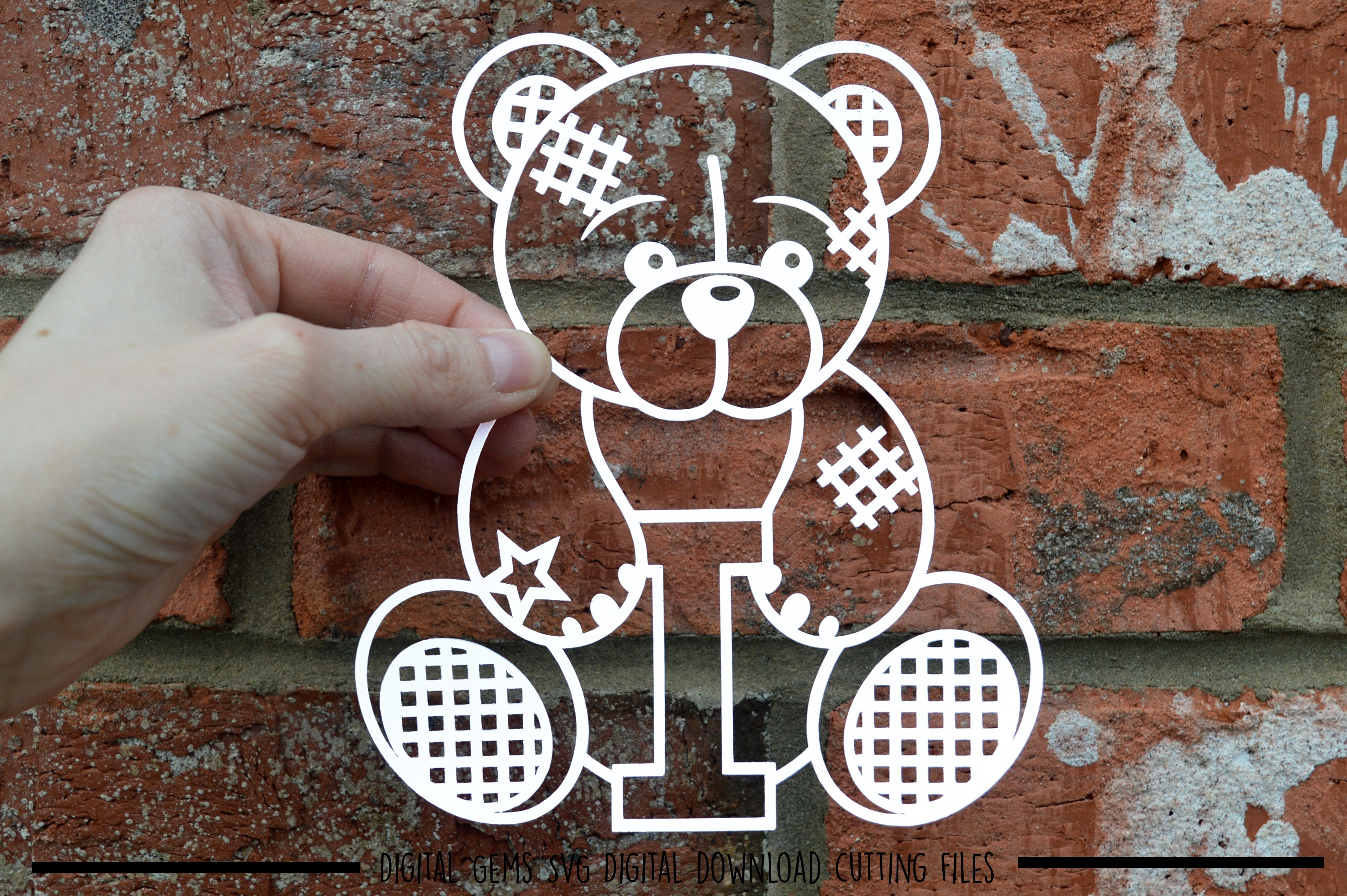 Alphabet teddy bear paper cuts SVG / DXF / EPS files example image 7
