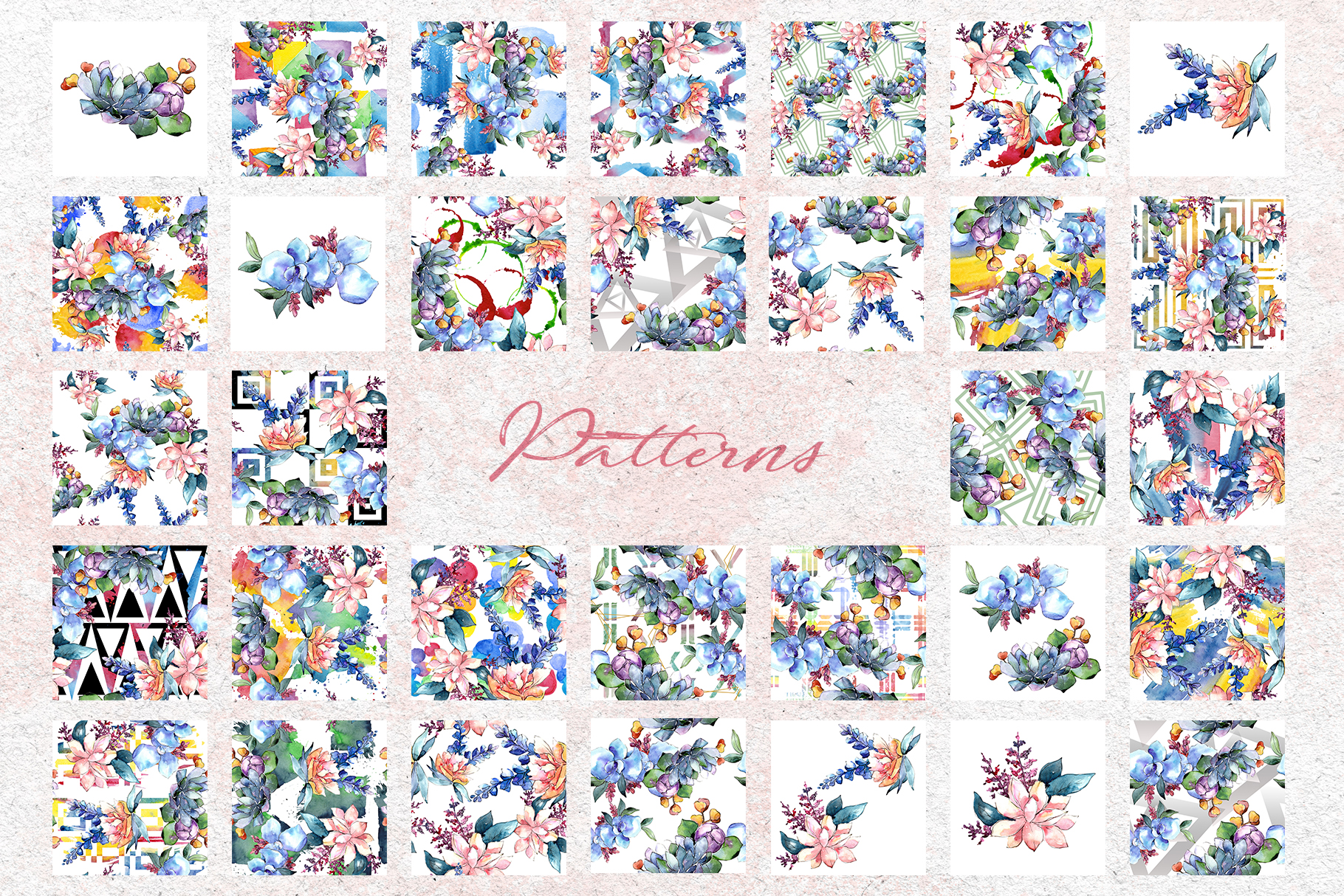 Bouquets flowers set PNG watercolor example image 7