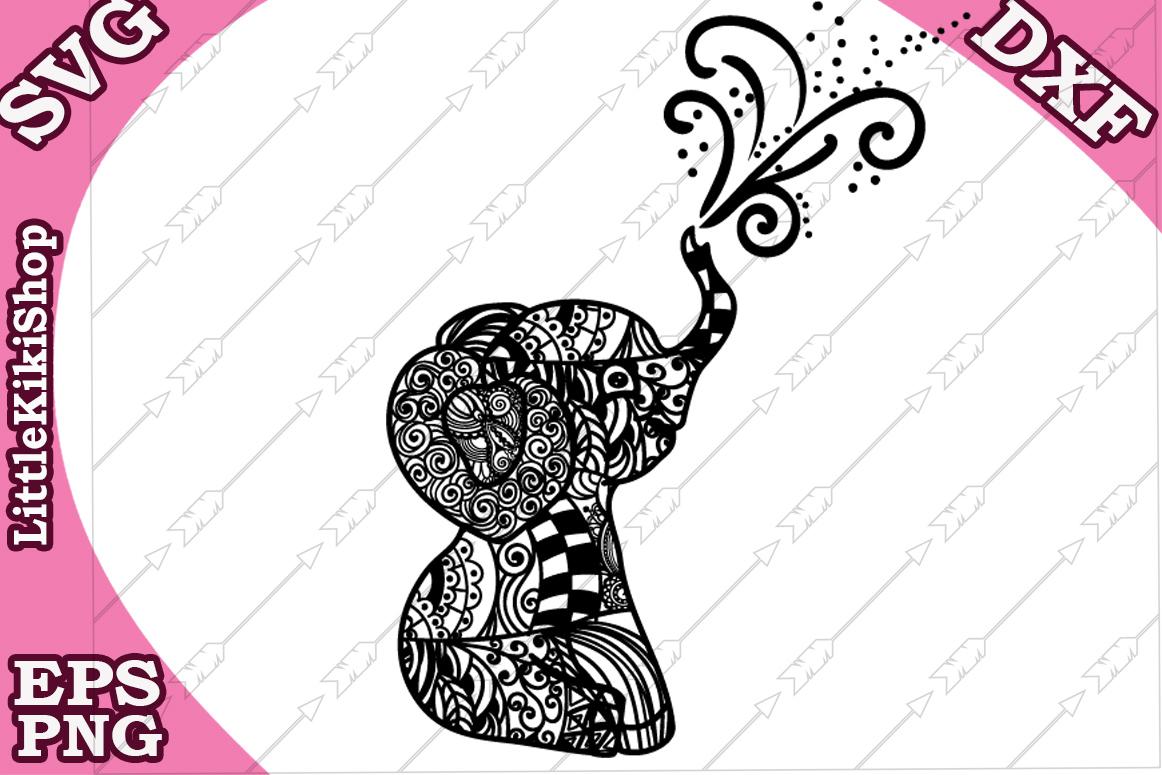 Baby Elephant Svg,Mandala Elephant Svg,Zentangle animal Sv example image 2
