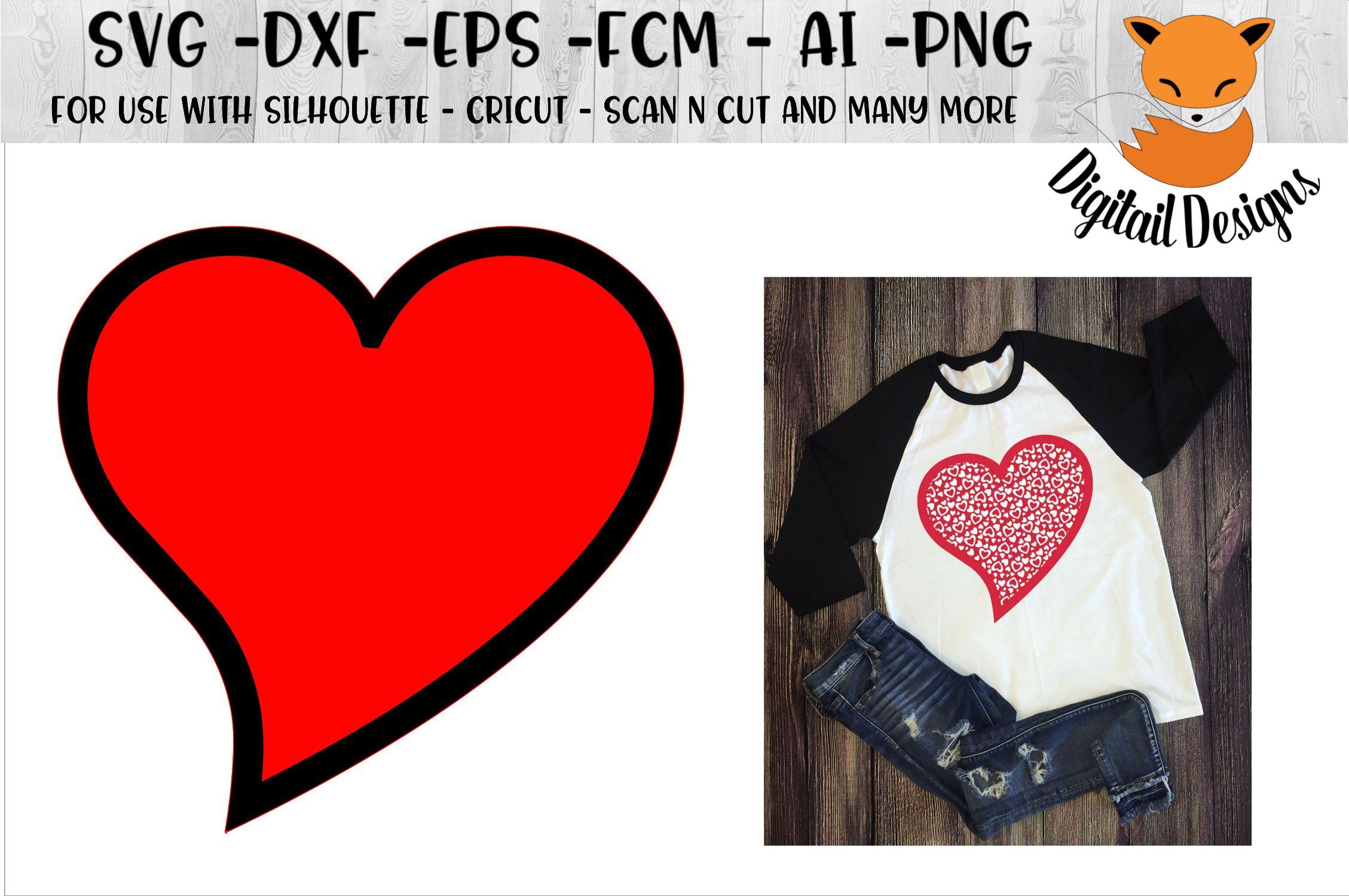 Valentine Heart SVG - Cricut -Silhouette example image 1
