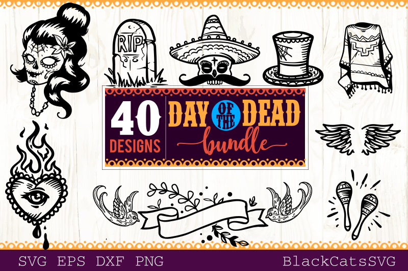 Day of the Dead SVG bundle 40 designs example image 4