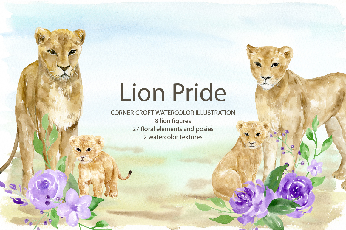 Watercolor clipart lion pride for instant download example image 3