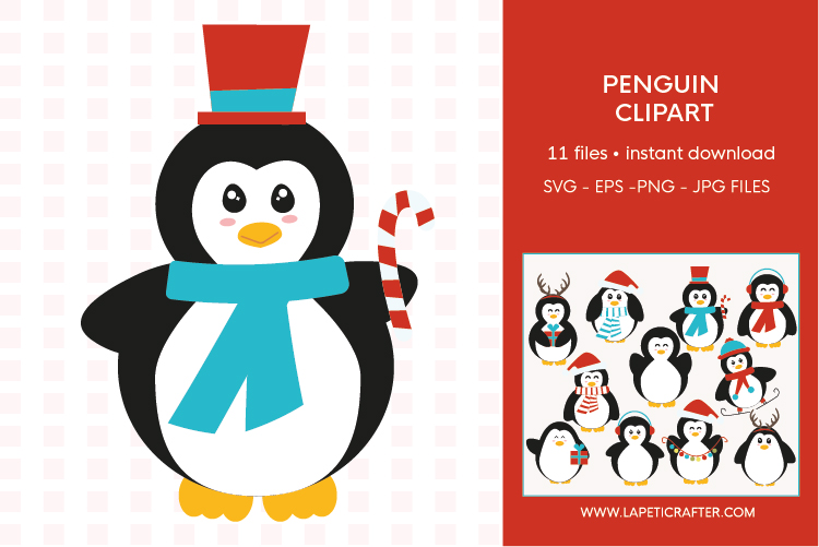 Christmas penguin clipart set, winter animals vector example image 11
