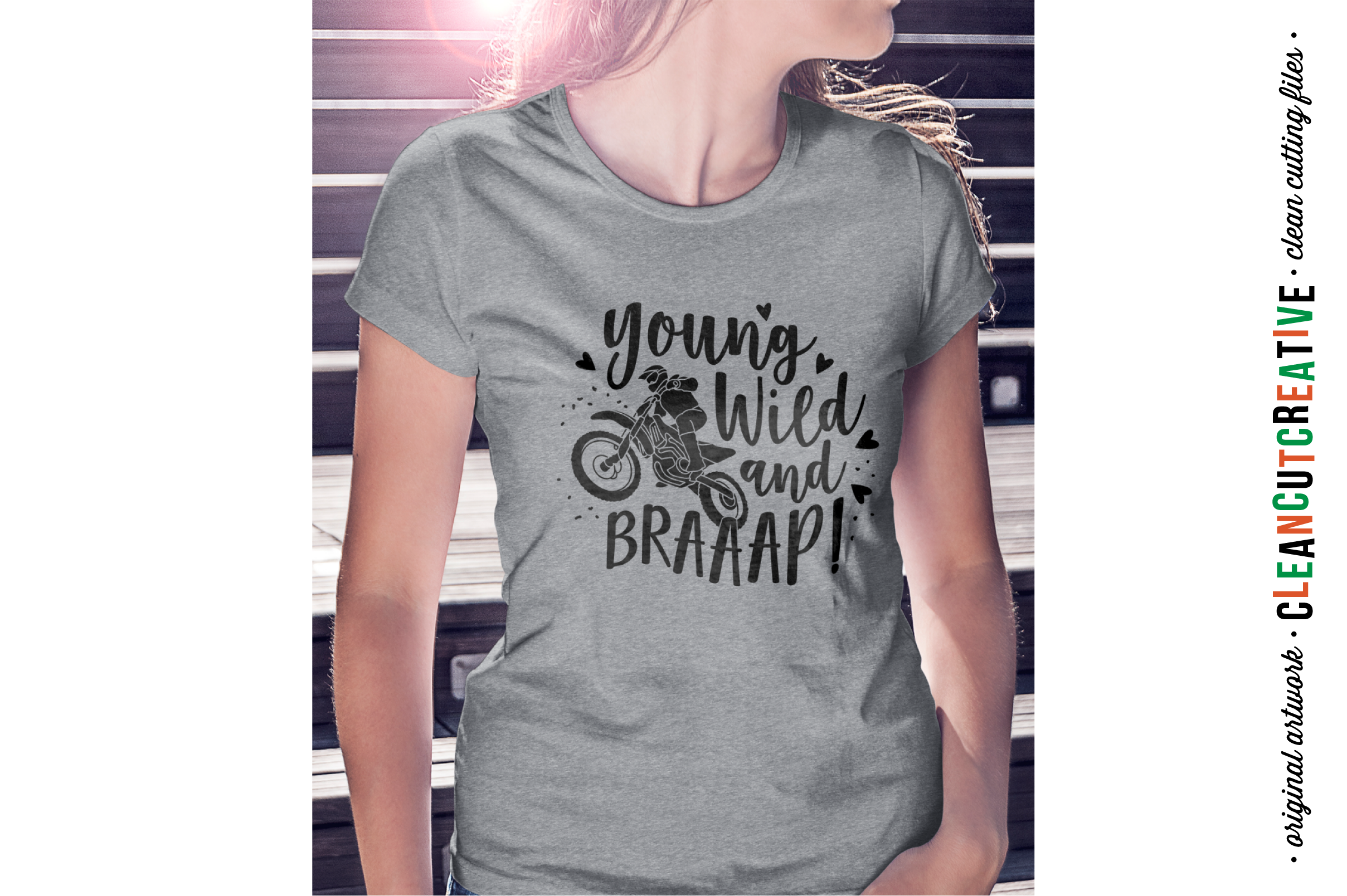 Young Wild and BRAAAP! Girls design for Motocross Dirt Bike Lovers! - SVG DXF EPSPNG - Cricut & Silhouette example image 2