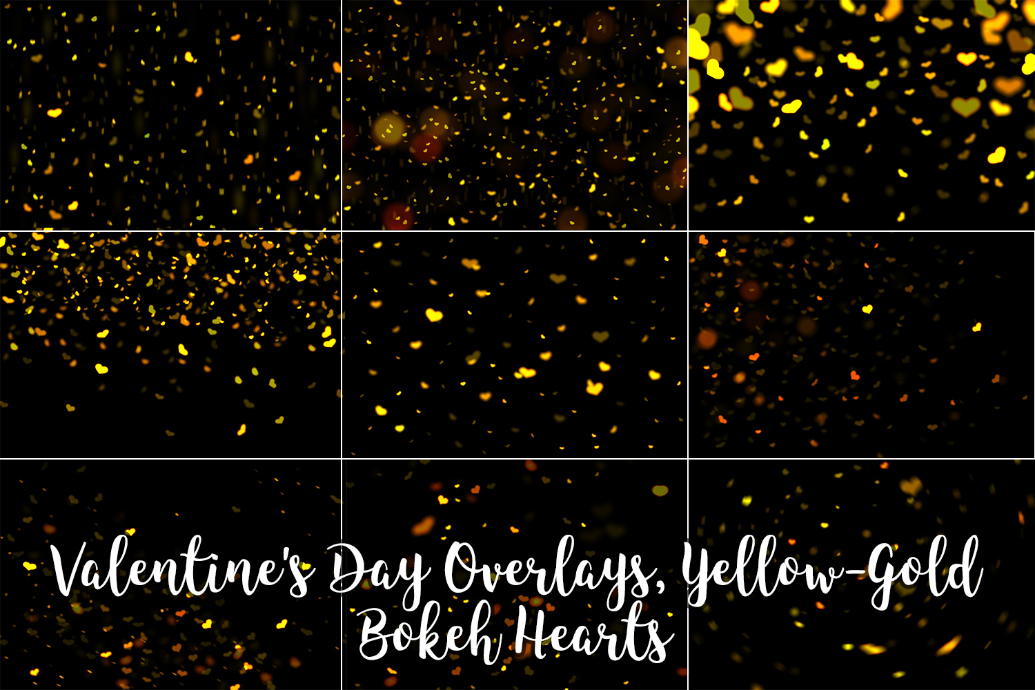 Valentine's Day Overlays, Yellow Gold Hearts Bokeh Overlays example image 10