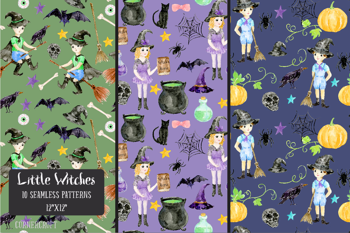 Little Witches Watercolor Design Kit example image 12