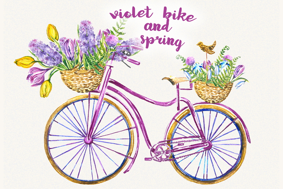 Bike clipart, Bicycle clipart, Spring flower clipart example image 1