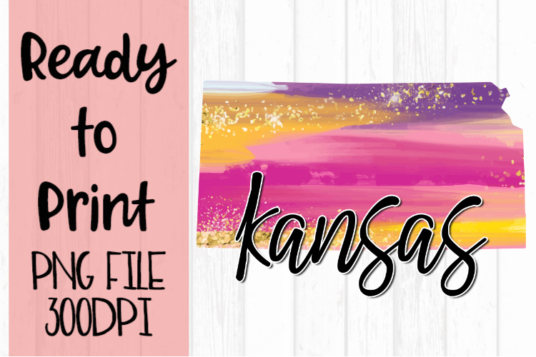 Kansas Painted States Ready to Print example image 1