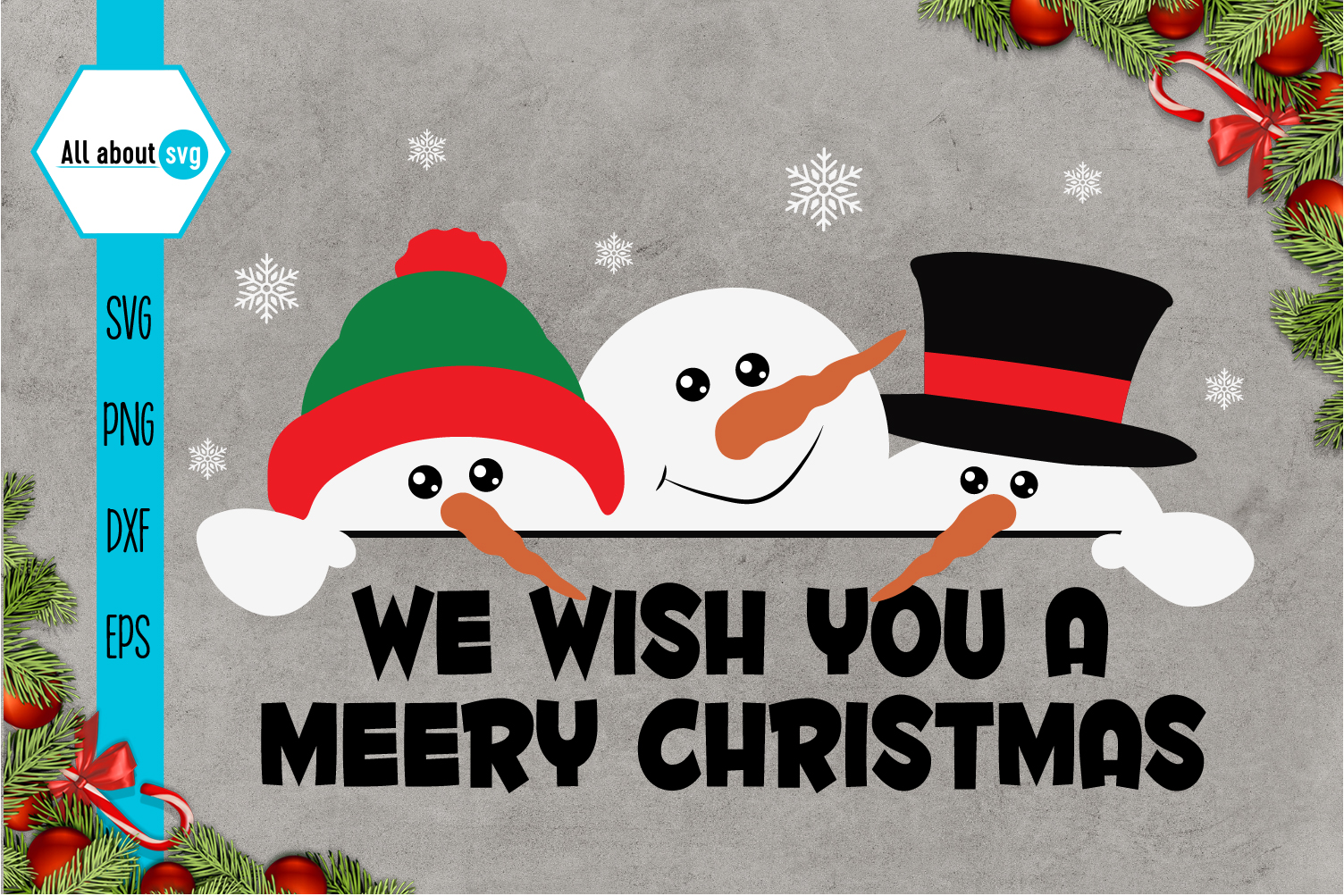 Snowman Svg, We wish You a Merry Christmas Svg example image 1