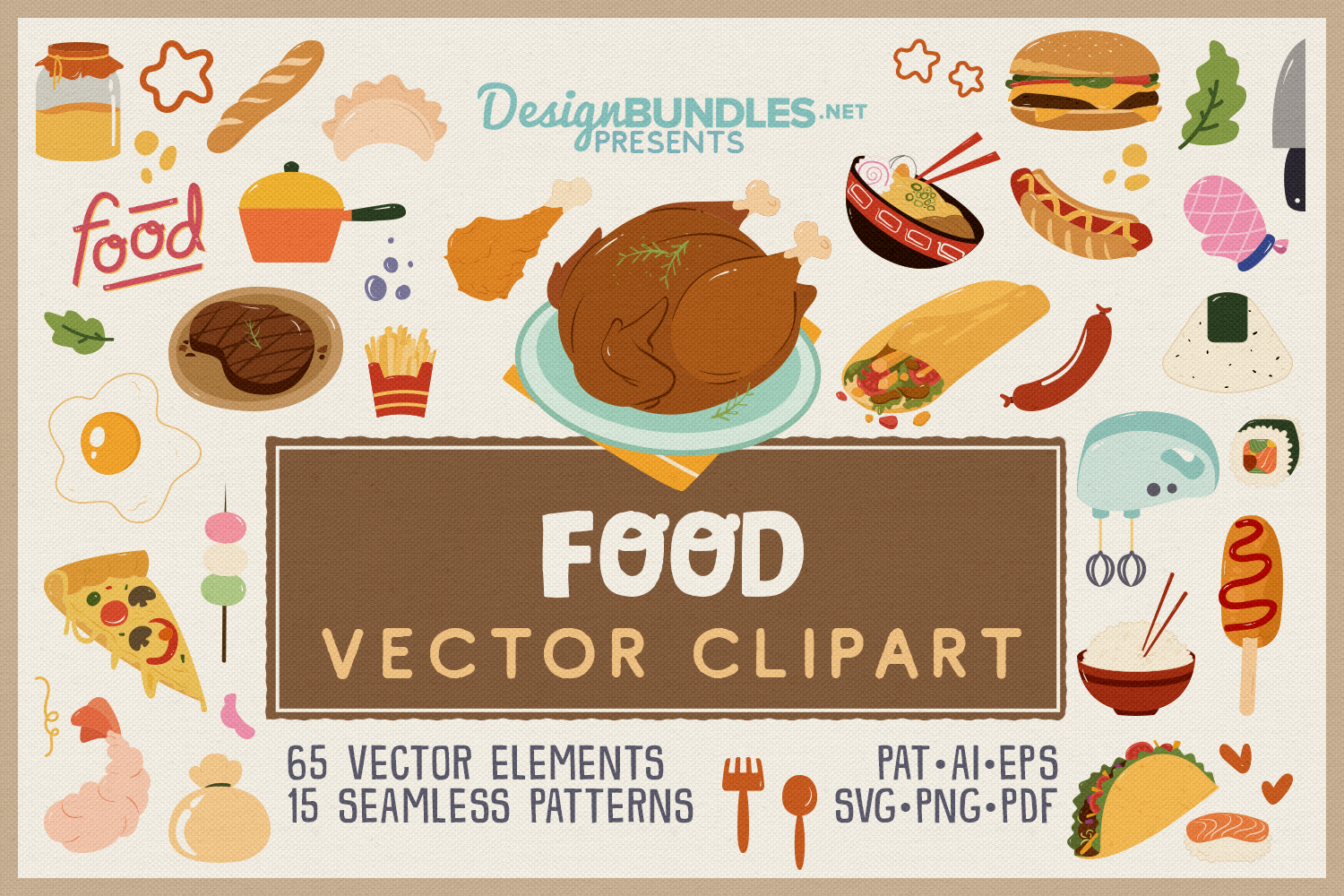 Food Vector Clipart & Seamless Patterns example image 1