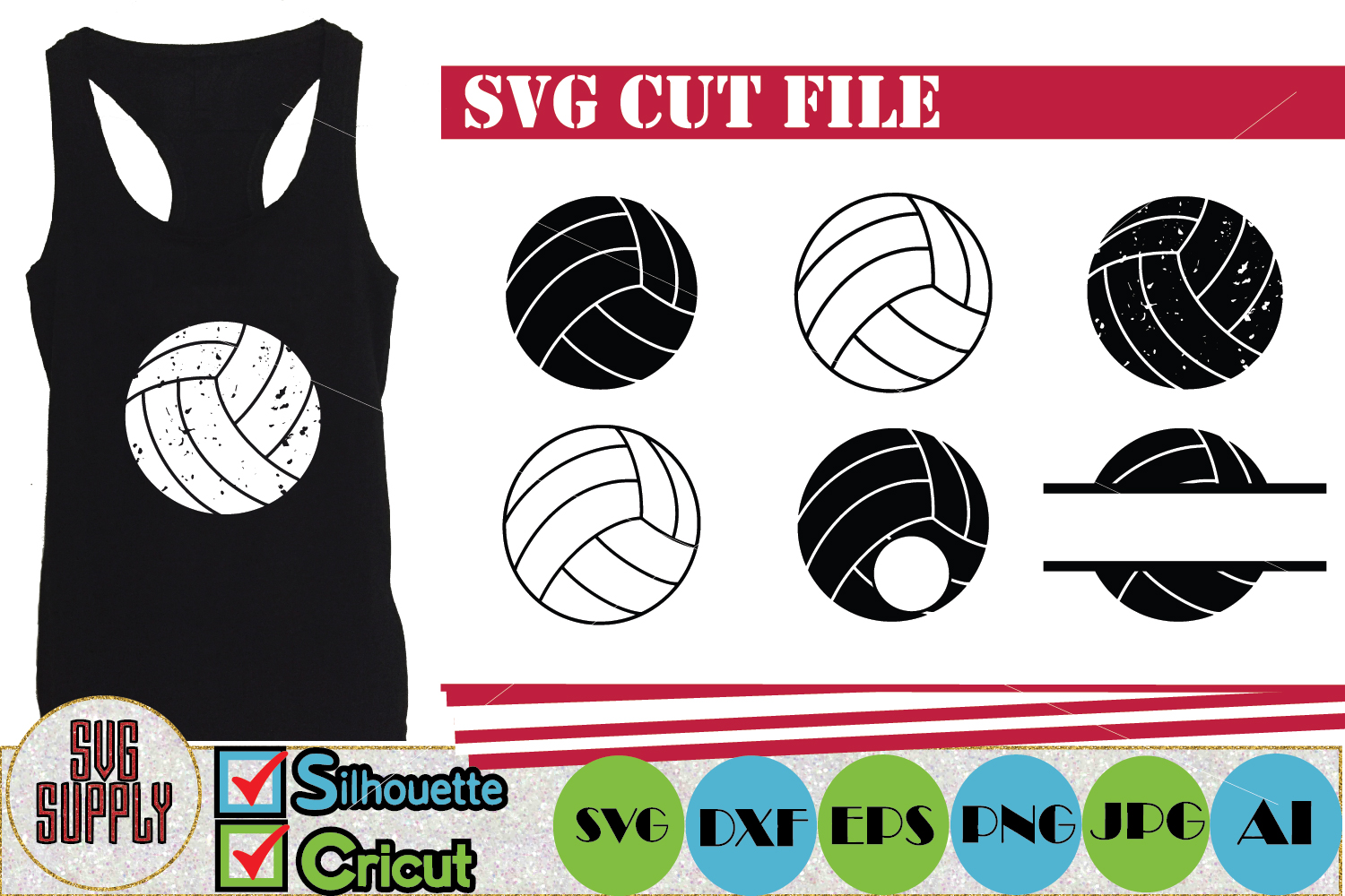Volleyball Set SVG Cut File example image 1