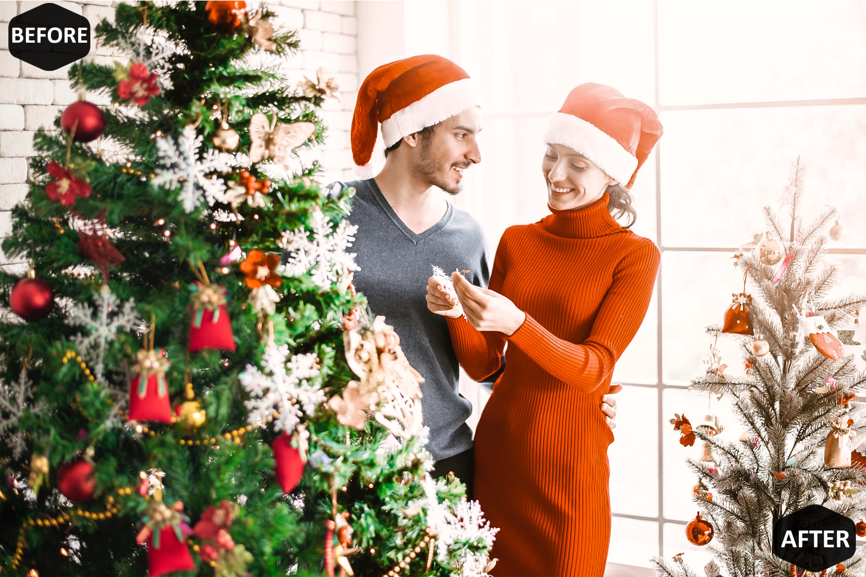 Christmas Joy Photoshop Actions And ACR Presets, brown Xmas example image 6