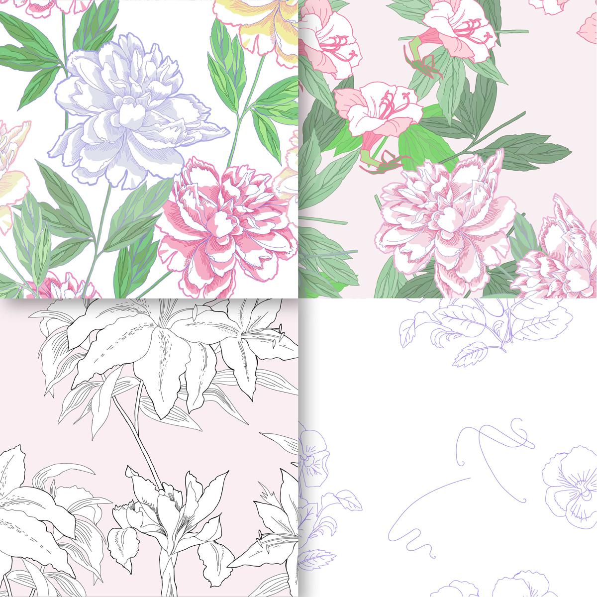 Wedding Flowers.Digital Paper example image 5