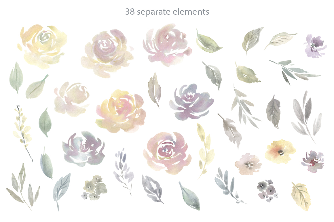Watercolor Light Flowers Bouquets Roses Peonies PNG example image 2