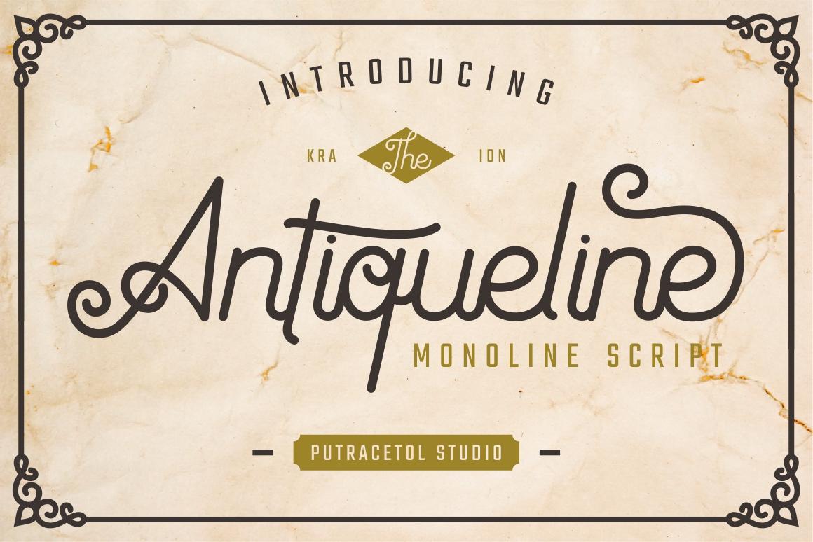 Antiqueline - Monoline Typeface example image 1