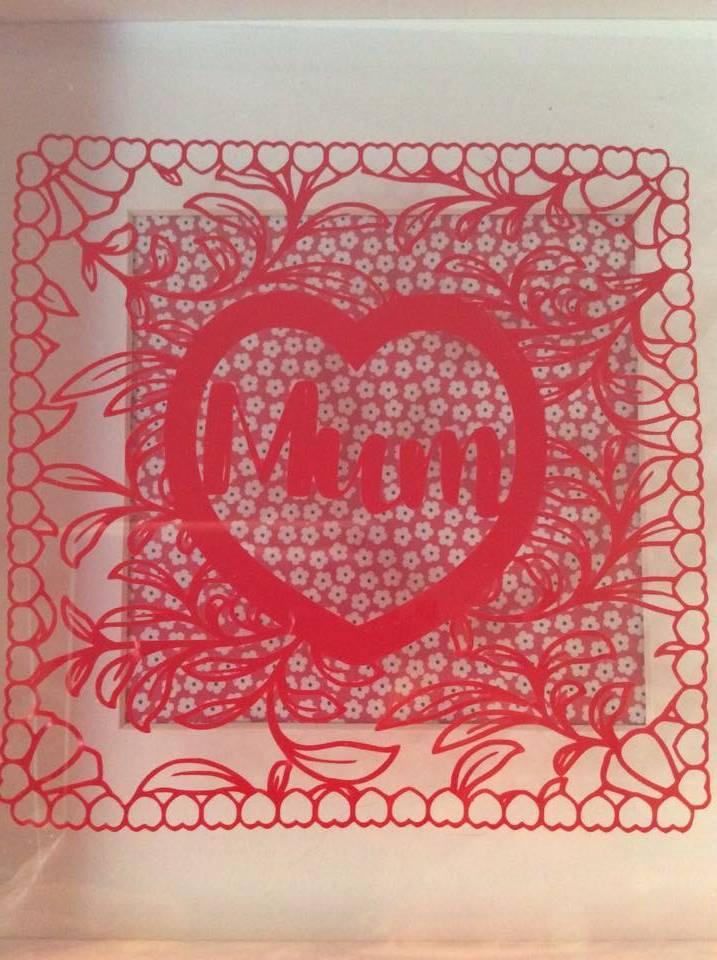 MAM, MOM & MUM floral square papercutting template example image 2