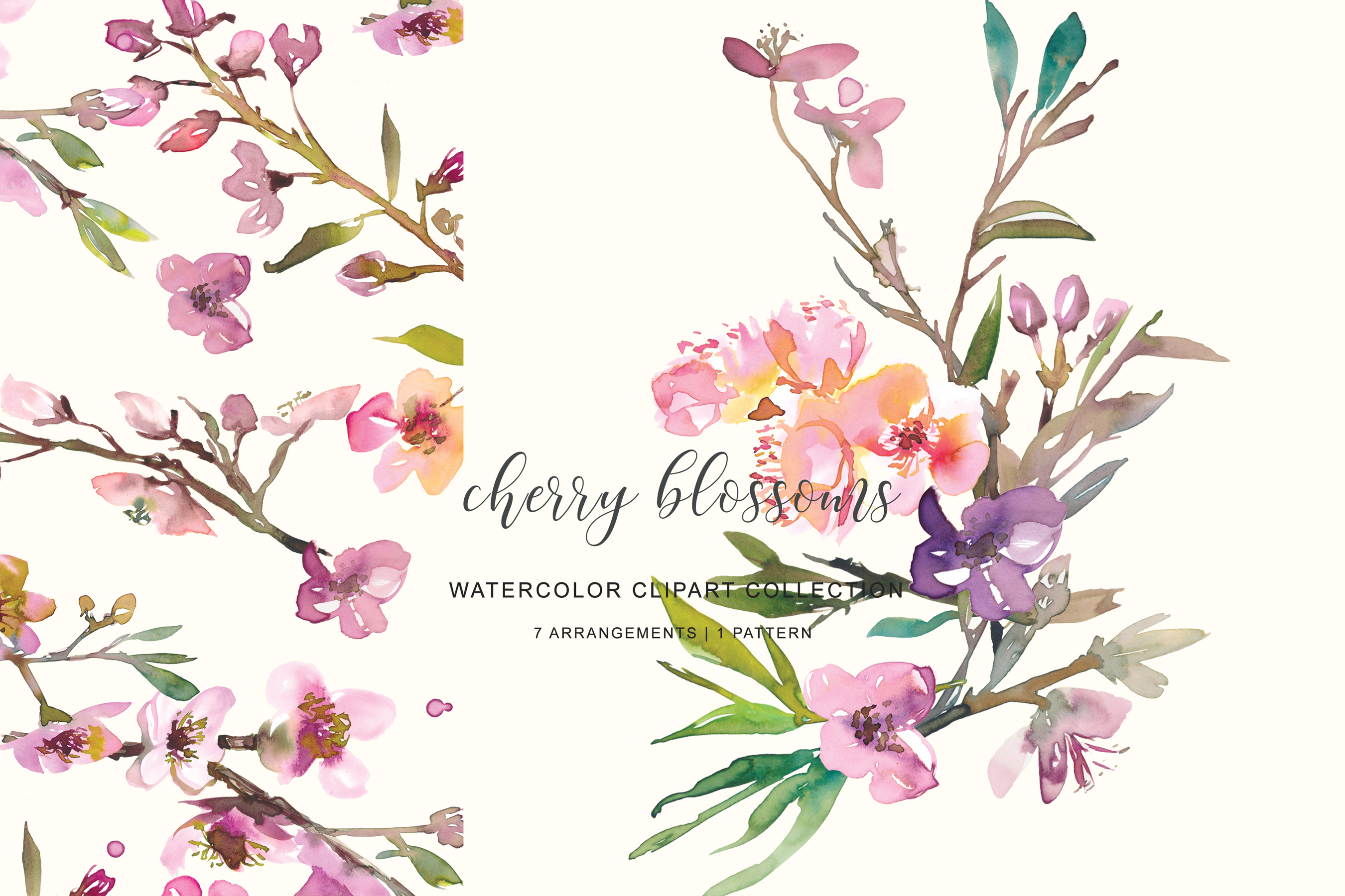 Hand Painted Watercolor Pink Cherry Blossoms example image 6