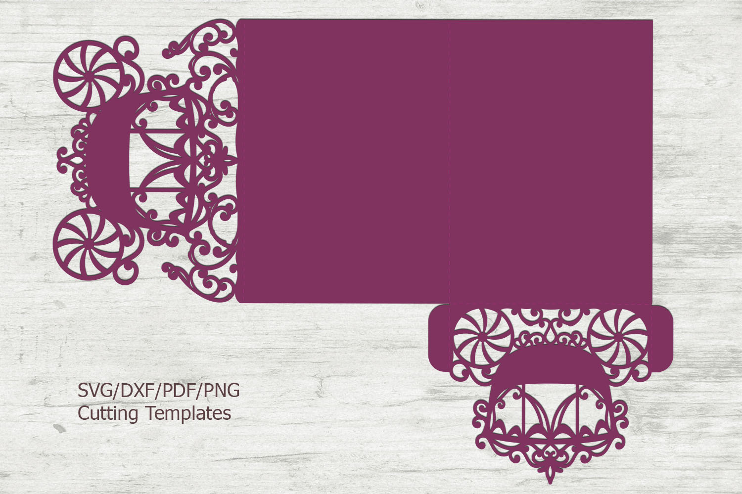 Princess Carriage Wedding Invitation Trifold Quinceanera svg example image 4