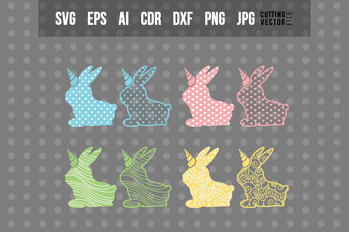 Decorative Bunny Unicorn - Bundle example image 1